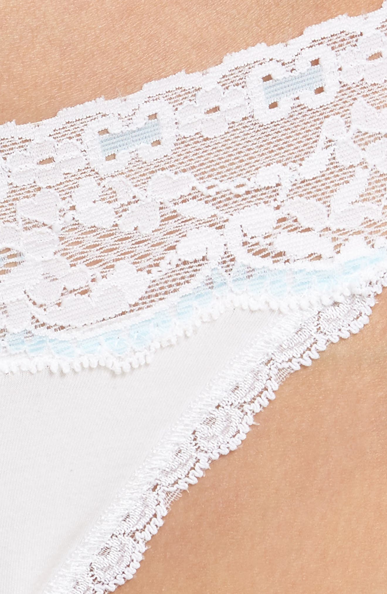 Annabelle Lace Thong,                             Alternate thumbnail 5, color,                             WHITE/ BABYBLUE