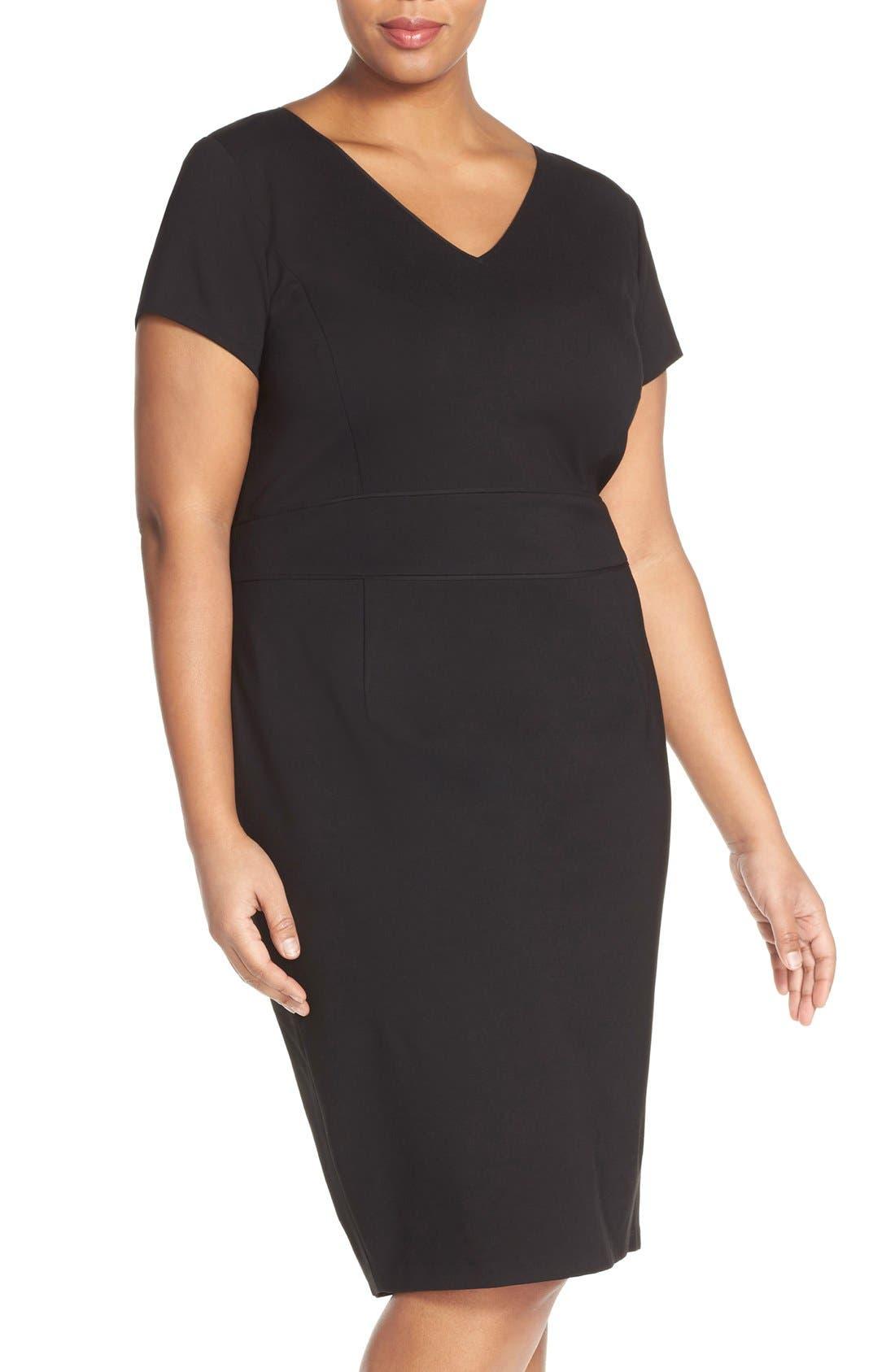 Ponte Sheath Dress,                         Main,                         color, 001