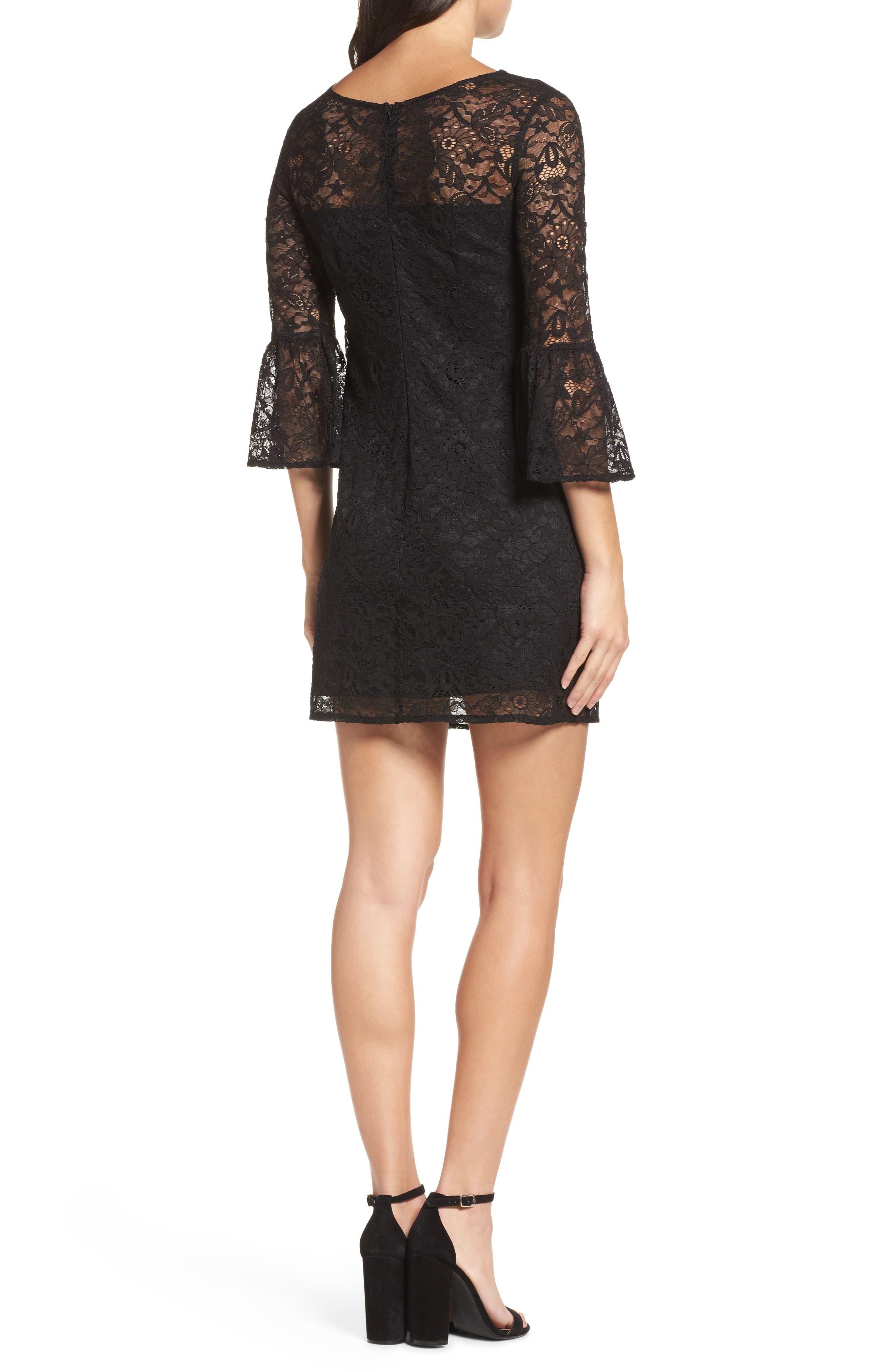 Billie Bell Sleeve Lace Dress,                             Alternate thumbnail 2, color,                             001