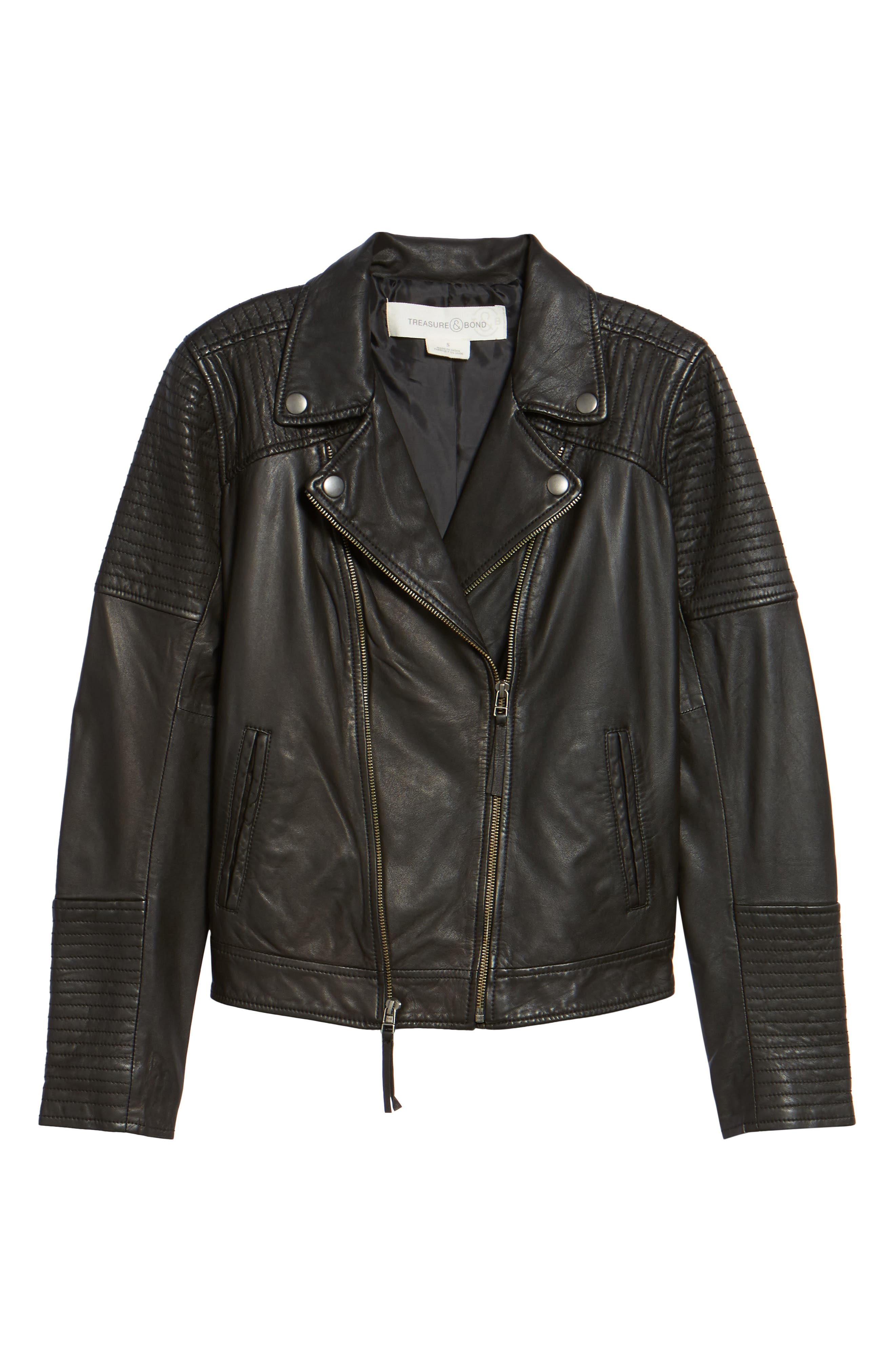 Quilted Leather Moto Jacket,                             Alternate thumbnail 6, color,                             001