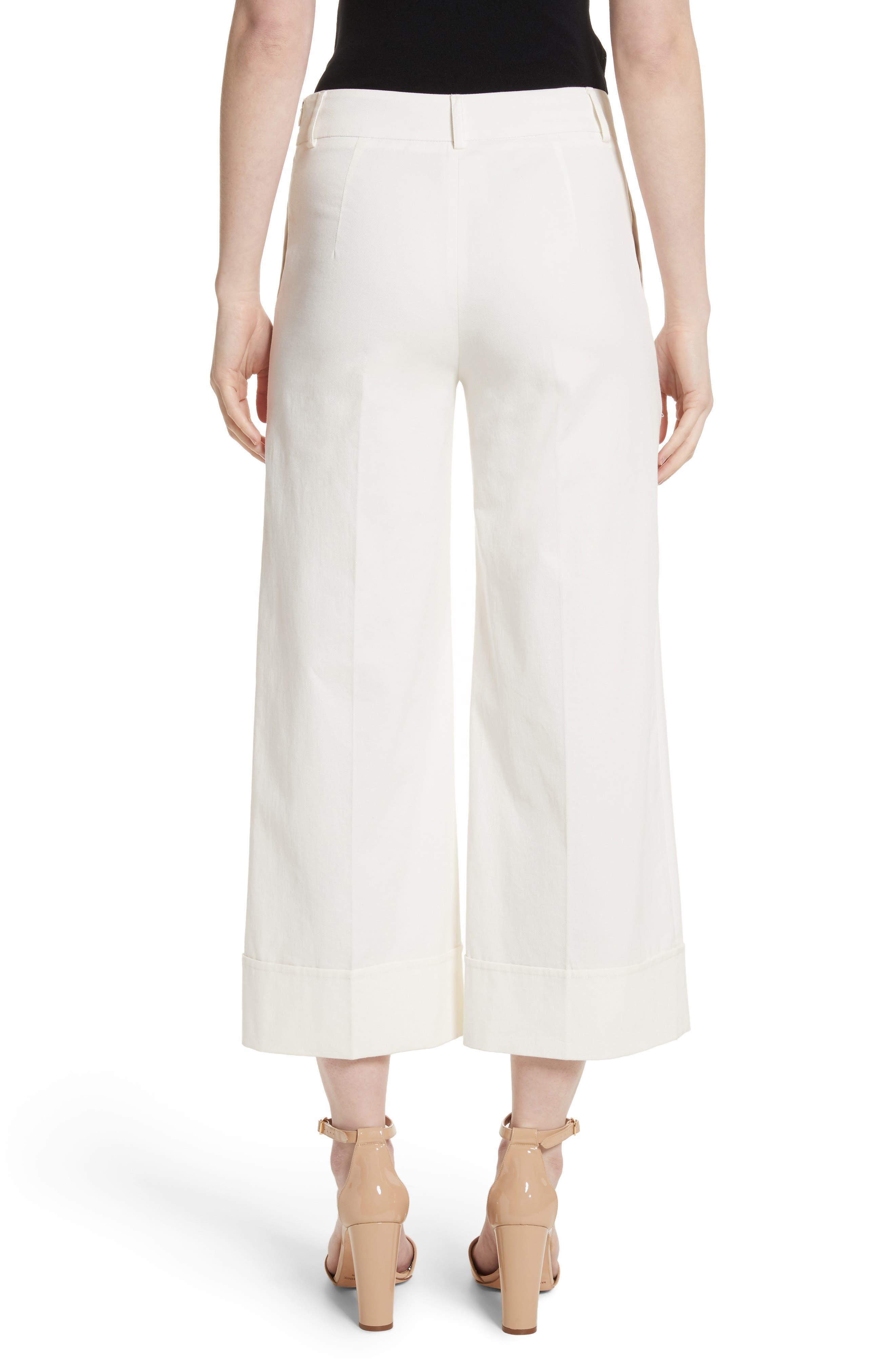 Stretch Cotton Gabardine Crop Wide Leg Pants,                             Alternate thumbnail 2, color,