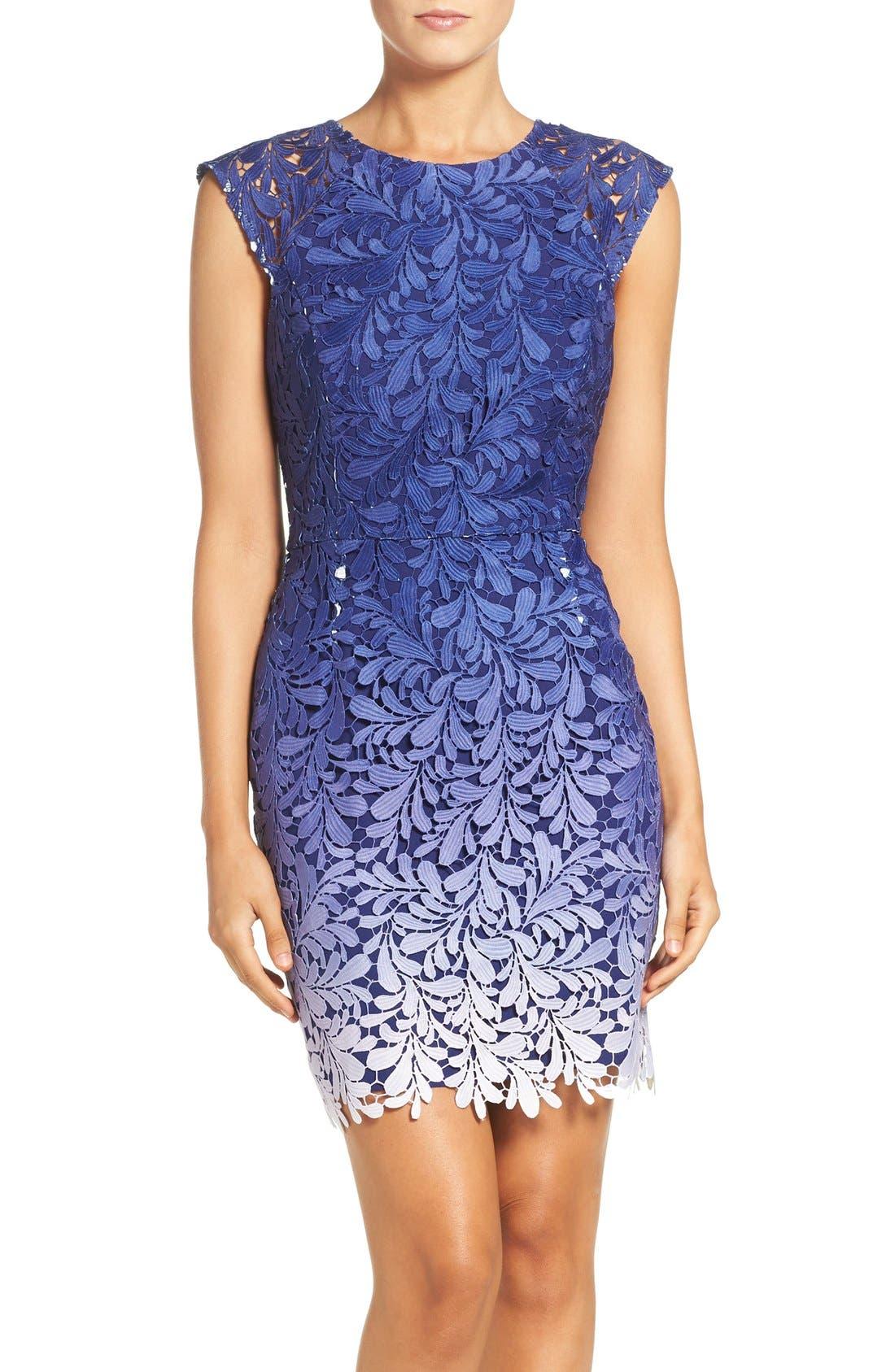 Ombré Lace Sheath Dress,                         Main,                         color, 400