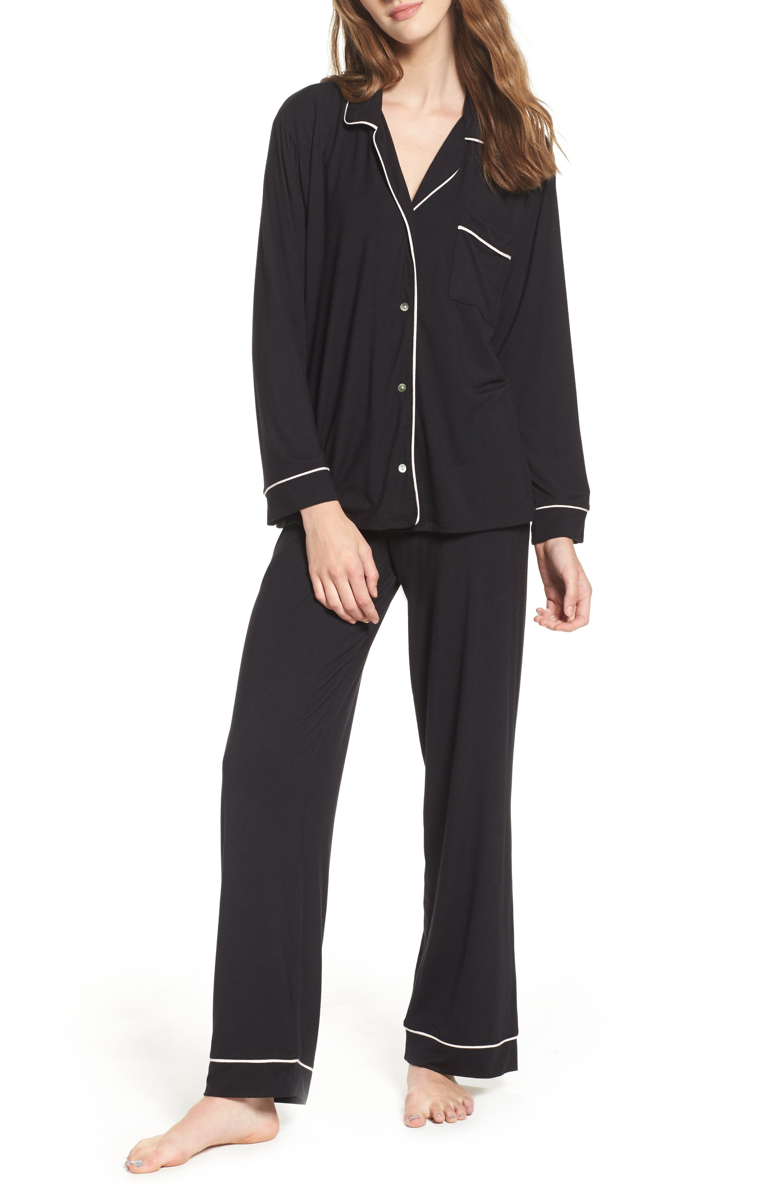 'Giselle' Pajamas,                             Alternate thumbnail 2, color,                             BLACK/ SORBET PINK