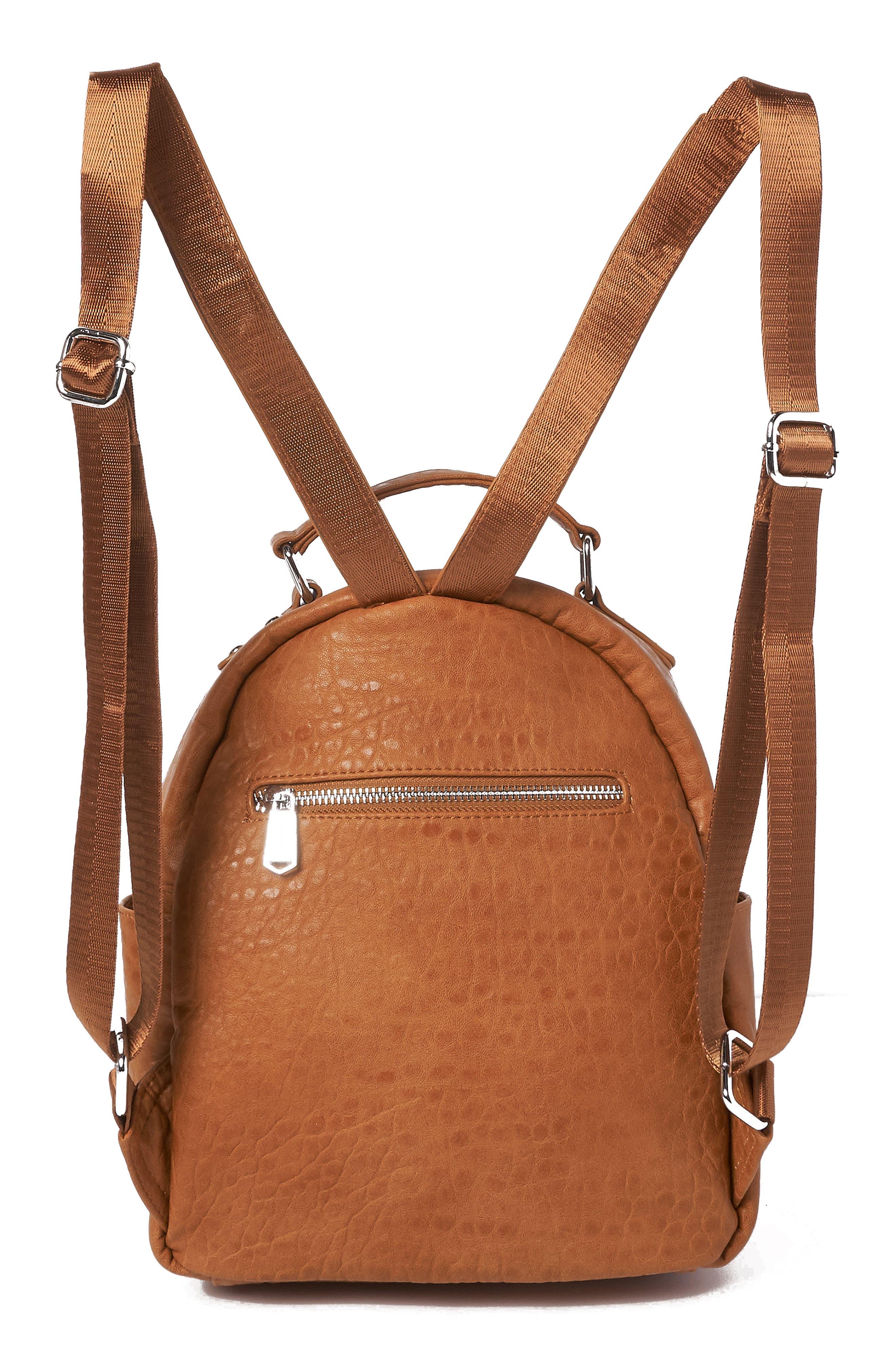 Vegan Leather Mini Backpack,                             Alternate thumbnail 2, color,                             TAN
