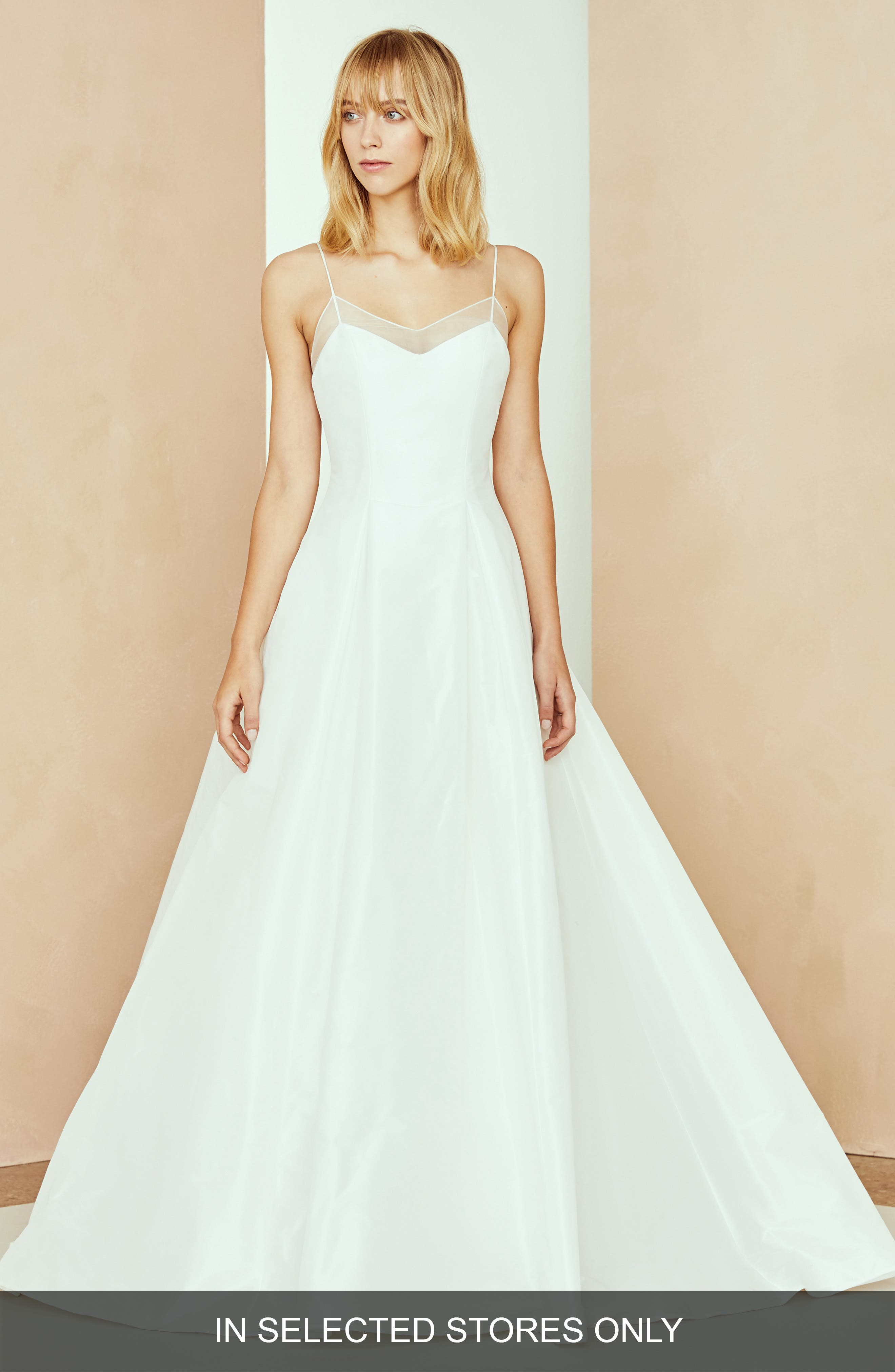 Nouvelle Amsale Shea Organza Neckline Dress, Size IN STORE ONLY - White