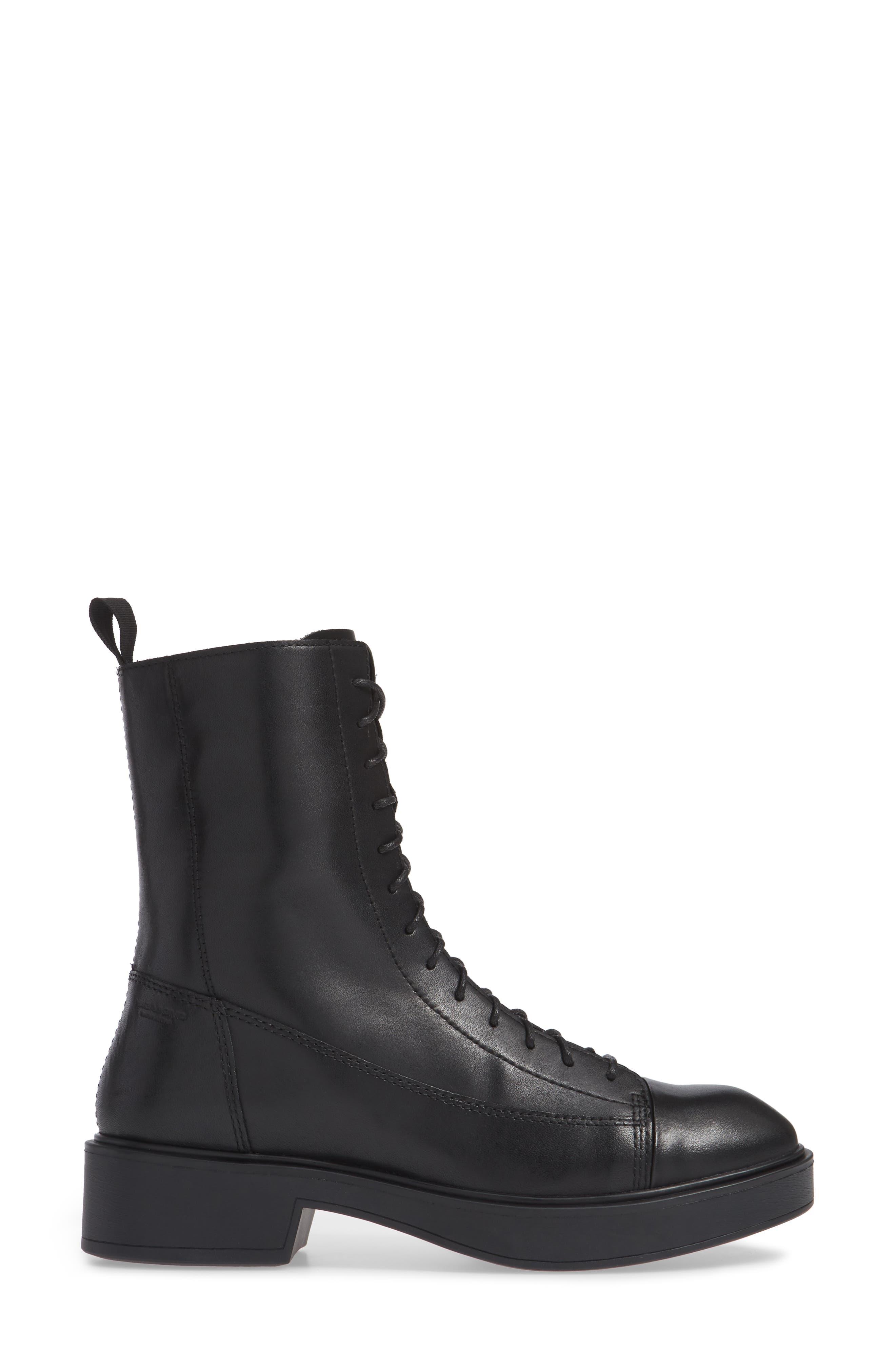 Shoemakers Diane Lace-Up Bootie,                             Alternate thumbnail 3, color,                             BLACK LEATHER