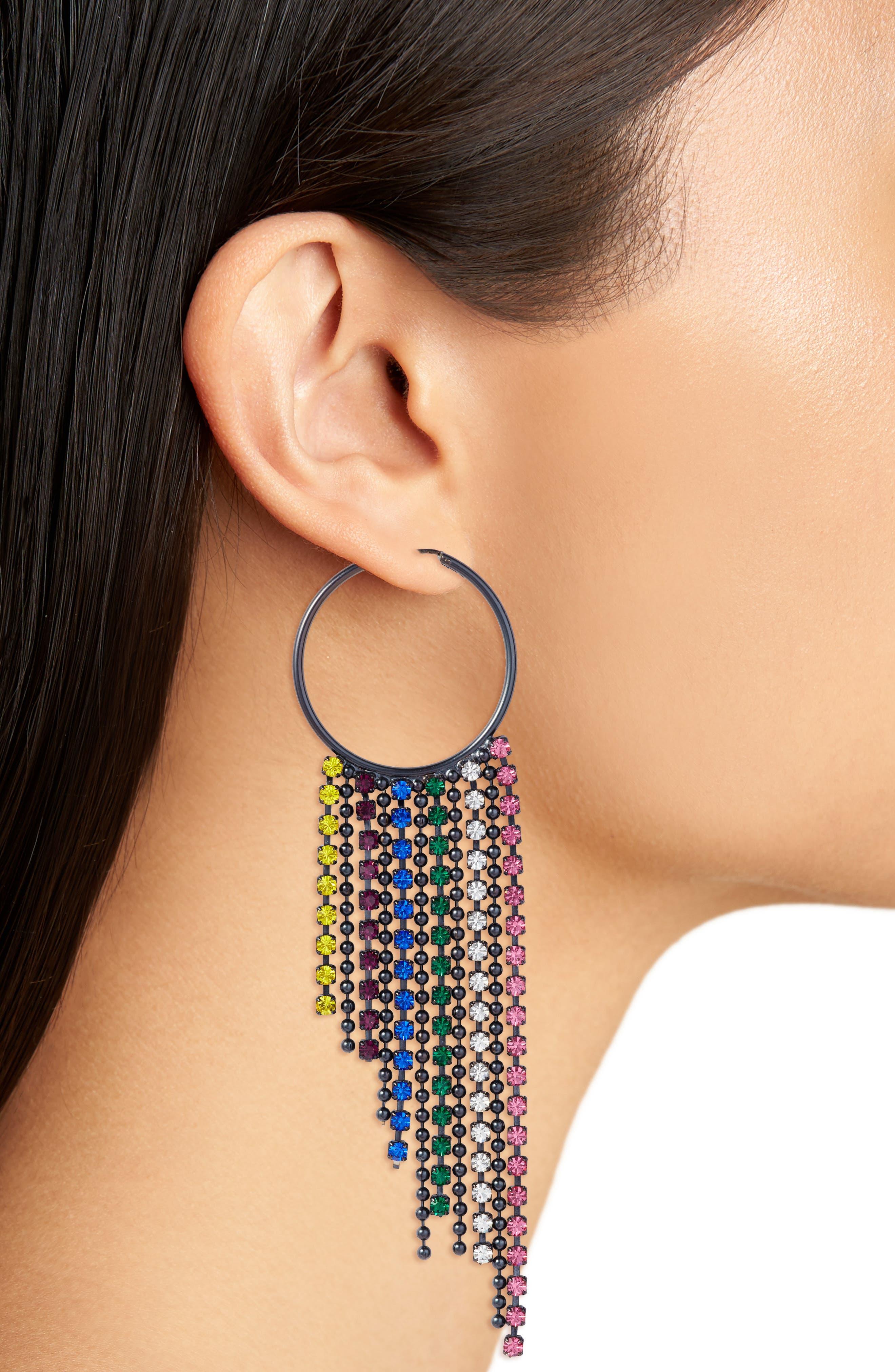 Joanna Fringe Hoop Earrings,                             Alternate thumbnail 6, color,