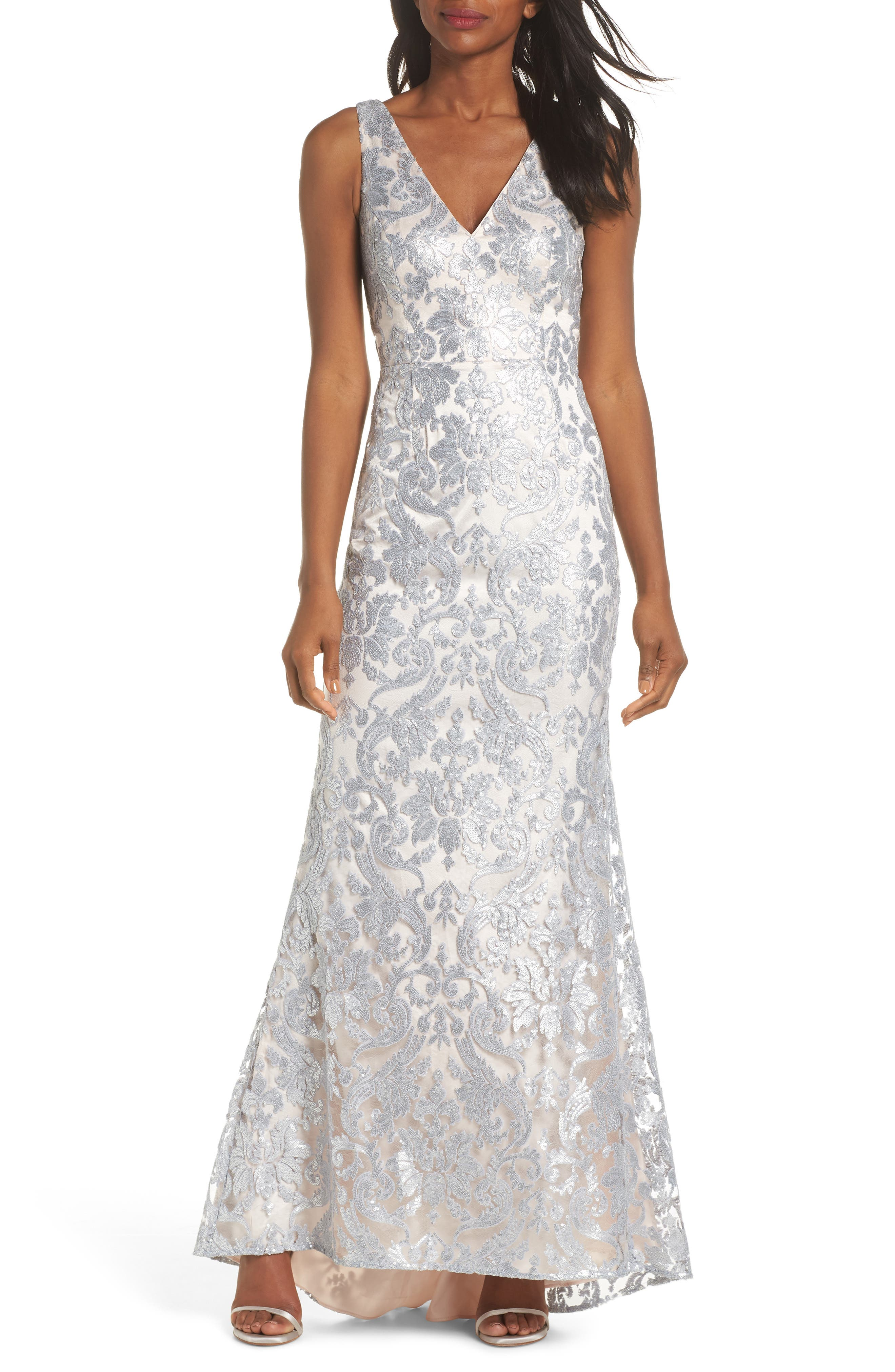 ELIZA J,                             Embroidered Evening Dress,                             Main thumbnail 1, color,                             SILVER
