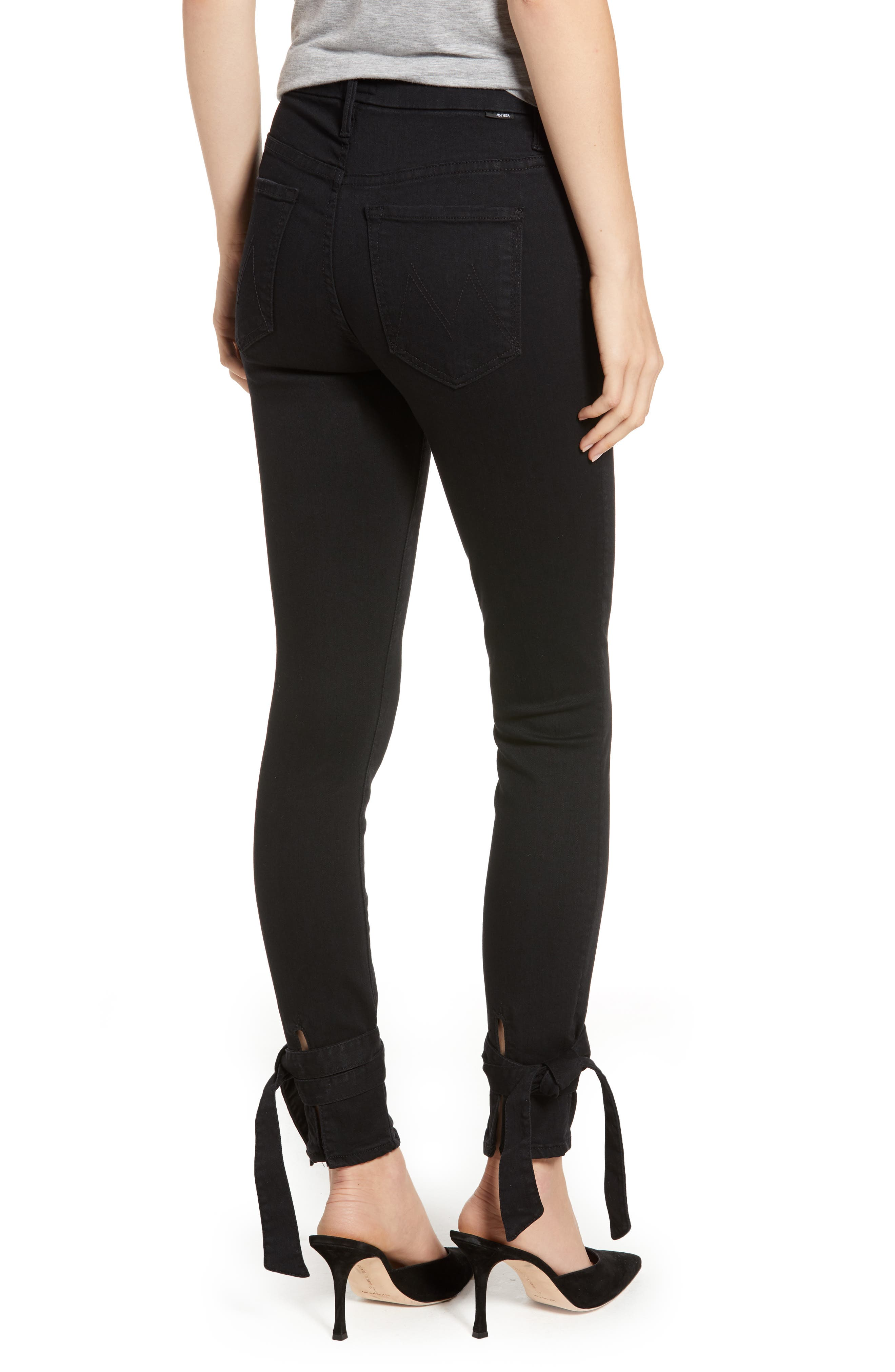 The Looker High Waist Bow Ankle Skinny Jeans,                             Alternate thumbnail 2, color,                             001