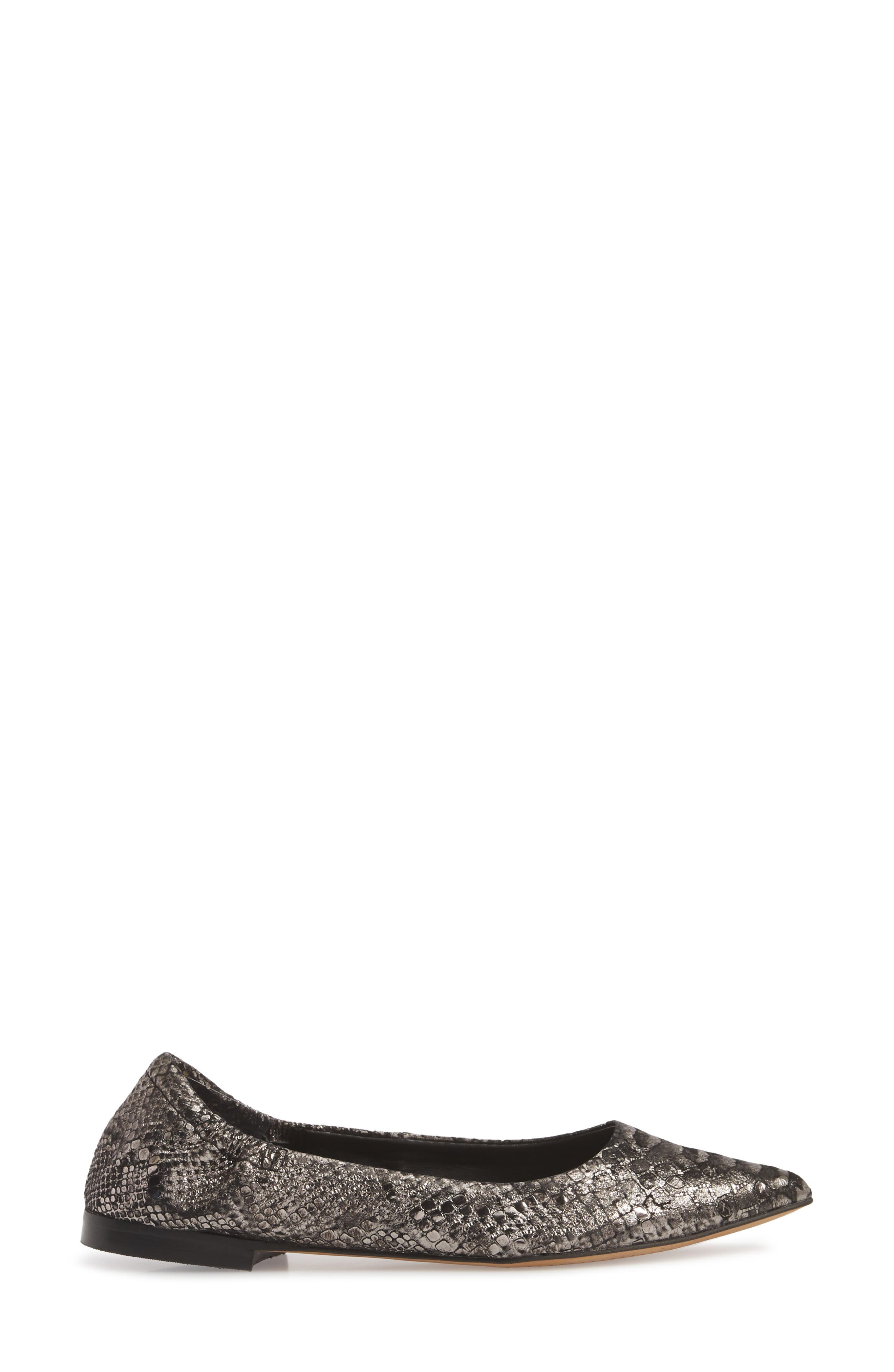 Isola Padra Pointy Toe Flat,                             Alternate thumbnail 3, color,                             PEWTER LEATHER