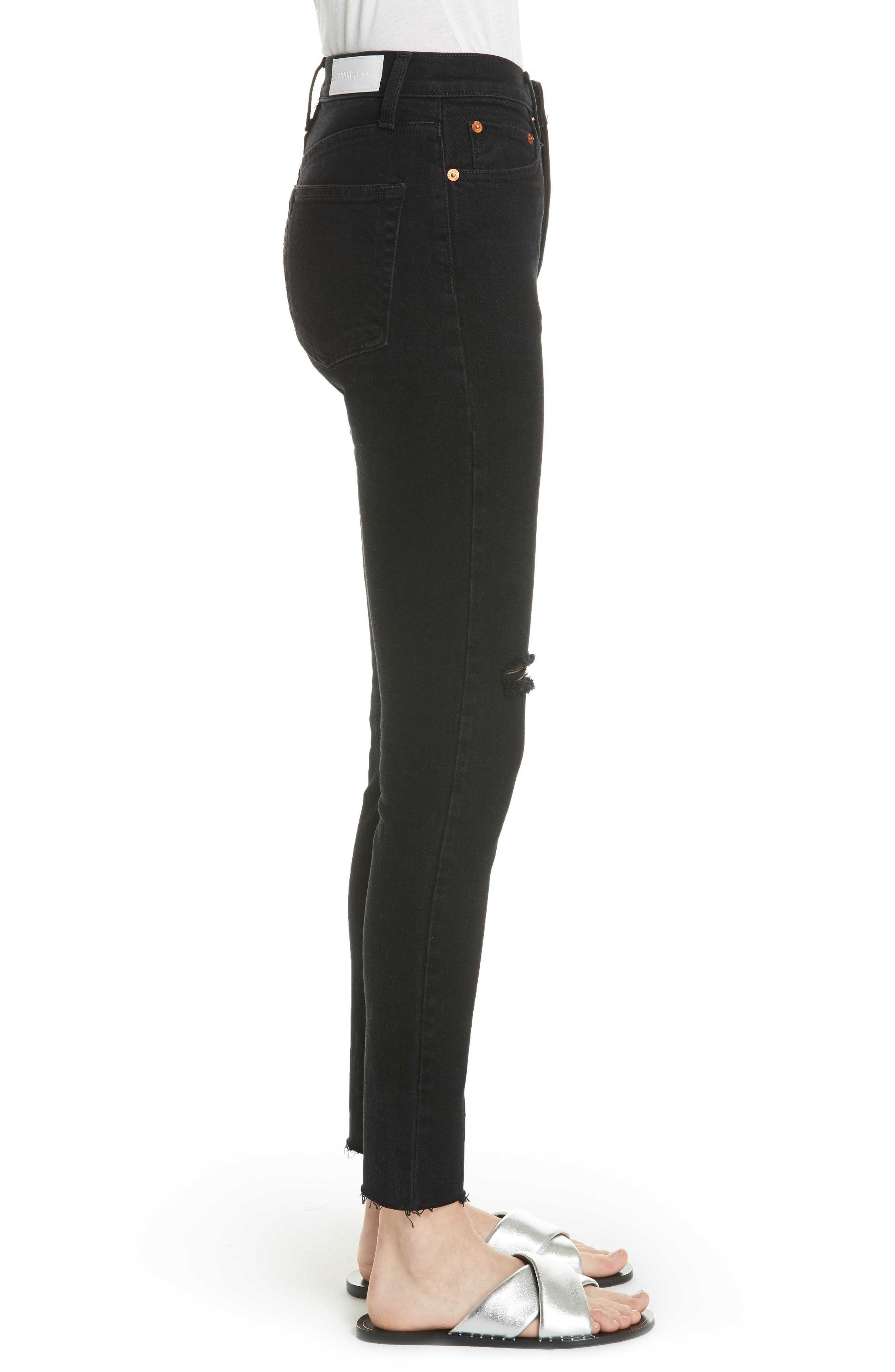 High Waist Stretch Ankle Jeans,                             Alternate thumbnail 3, color,                             BLACK DESTROY