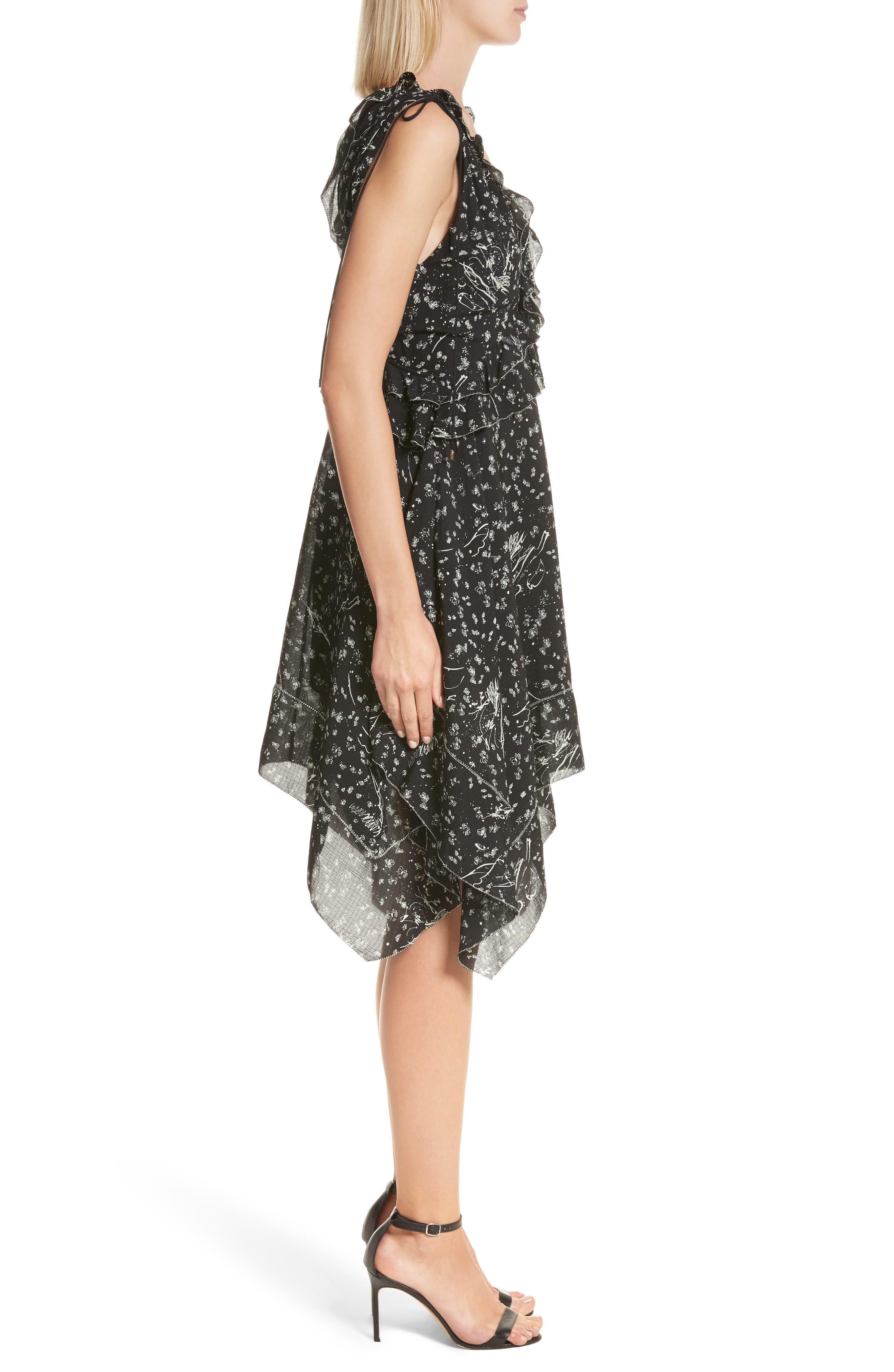 Ruffle Trim Handkerchief Hem Silk Dress,                             Alternate thumbnail 3, color,                             001