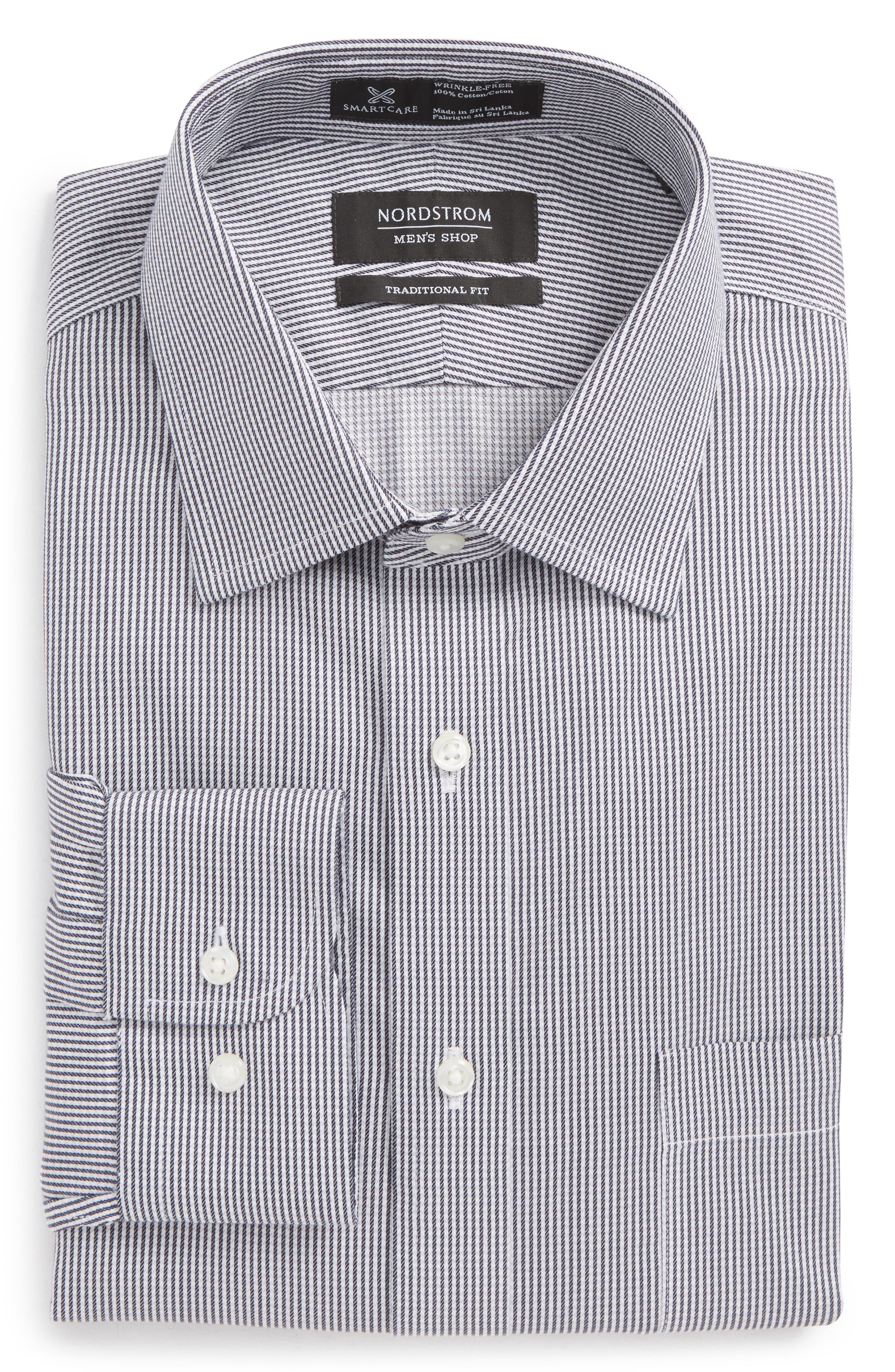 Smartcare<sup>™</sup> Traditional Fit Stripe Dress Shirt,                             Alternate thumbnail 13, color,