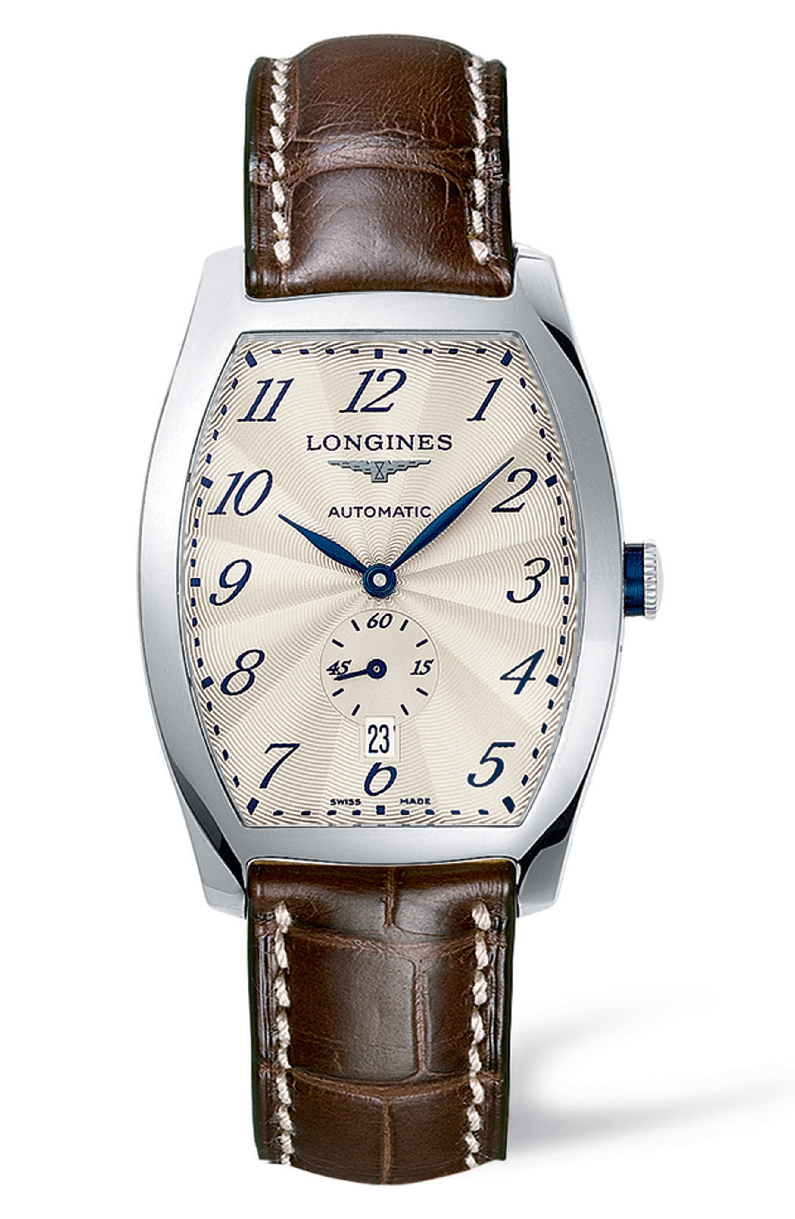 Evidenza Automatic Leather Strap Watch, 33mm x 38.8mm,                             Main thumbnail 1, color,                             BROWN/ SILVER
