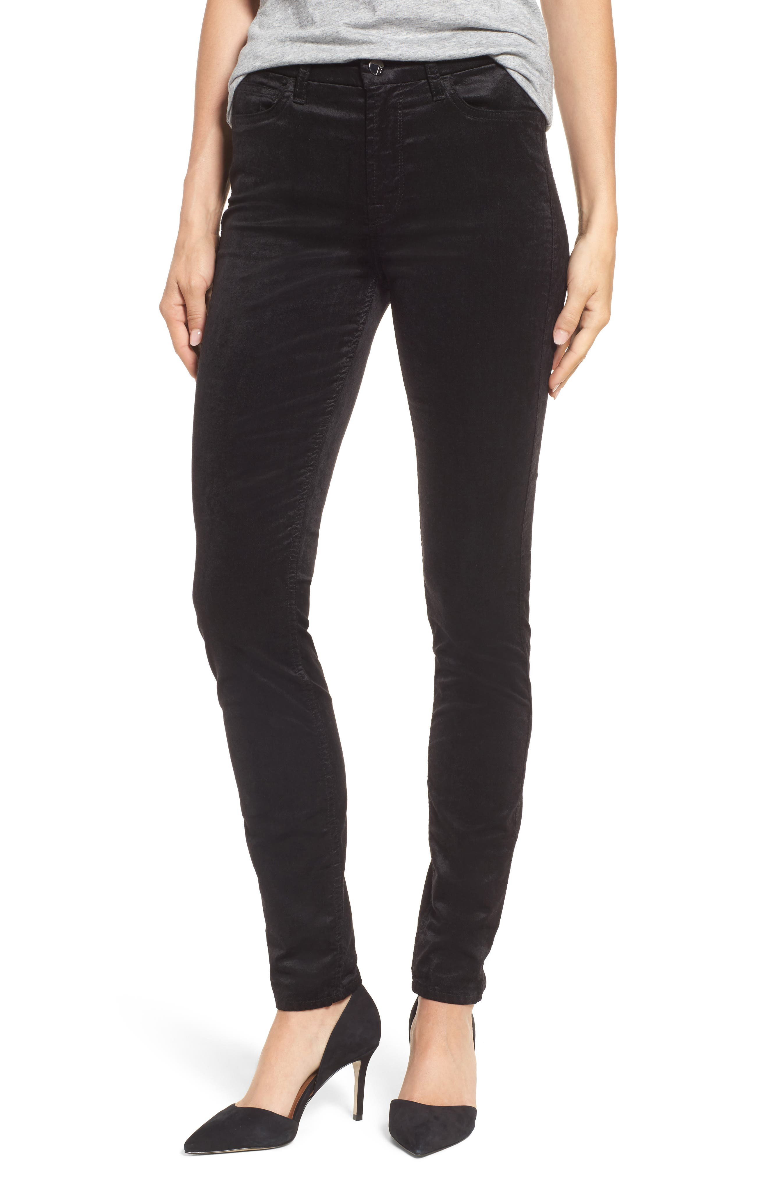 Stretch Velvet Ankle Skinny Jeans,                             Main thumbnail 1, color,                             004
