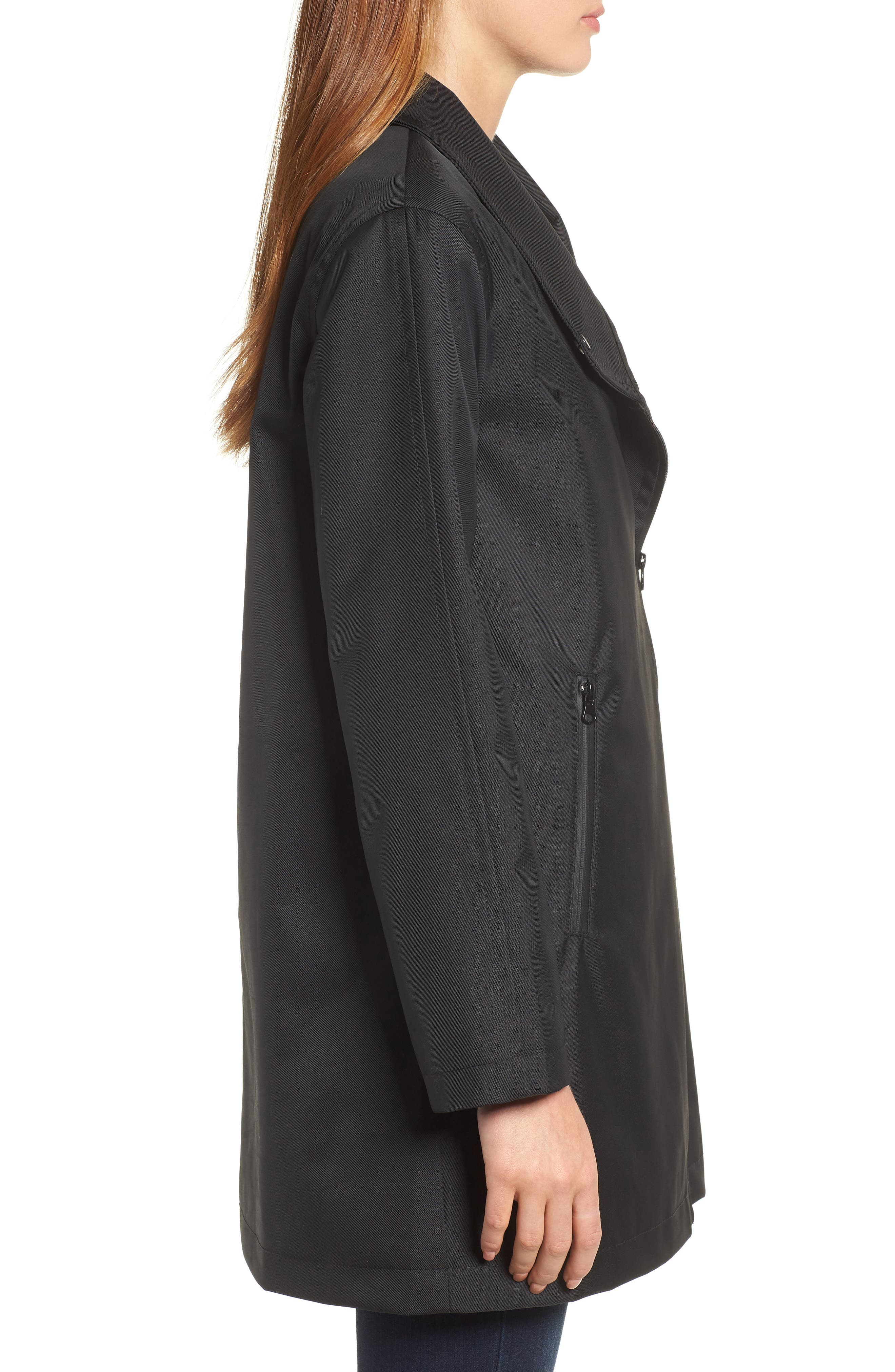 Tenley Asymmetrical Collar Coat,                             Alternate thumbnail 3, color,                             BLACK