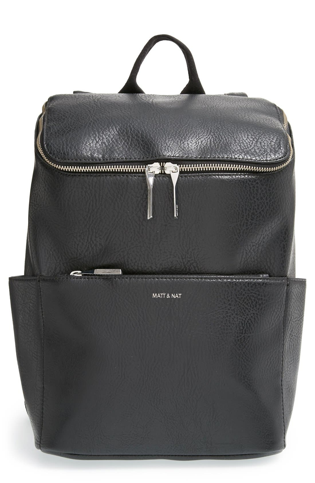 'Brave' Faux Leather Backpack,                             Main thumbnail 5, color,