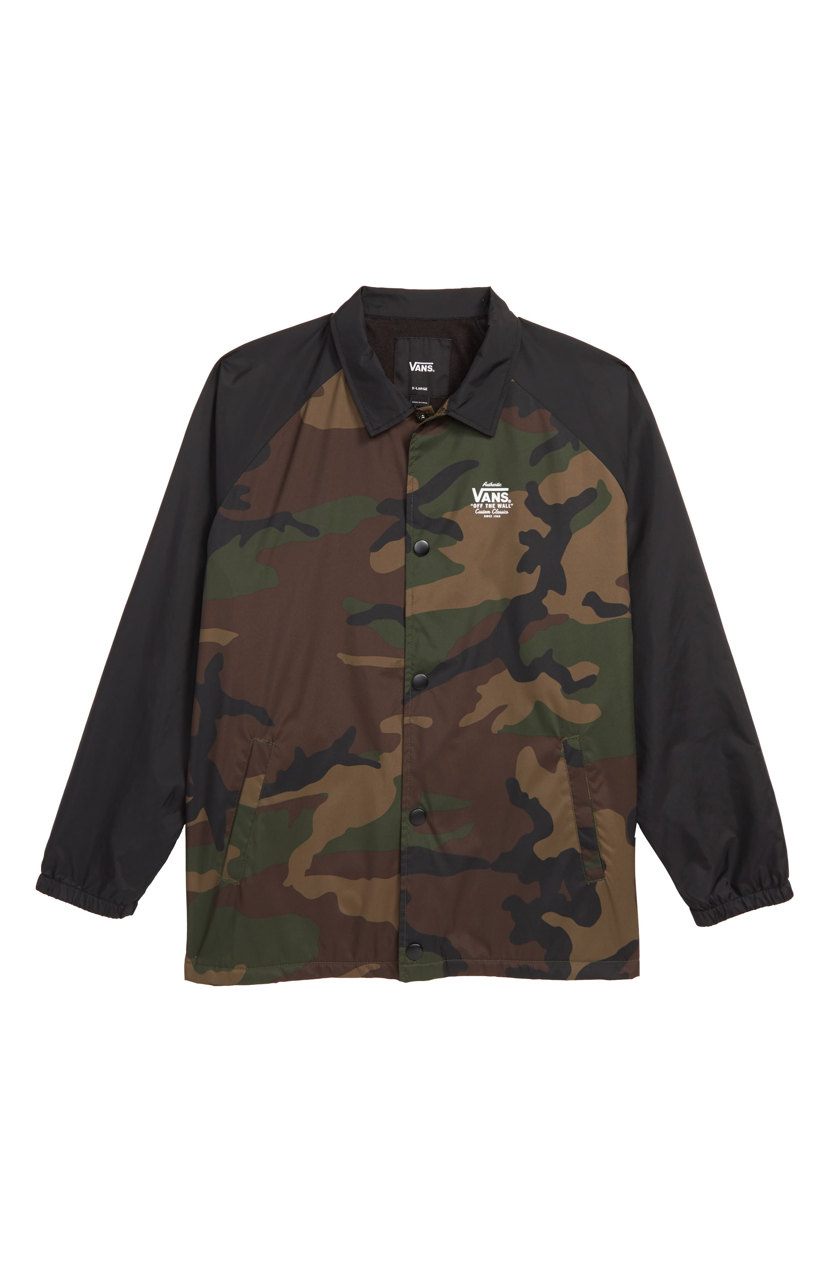 VANS,                             Torrey Water Resistant Jacket,                             Main thumbnail 1, color,                             OVERSIZED WOODLAND CAMO/ BLACK