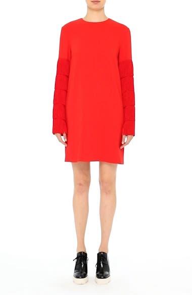 Fringe Sleeve Stretch Cady Dress, video thumbnail