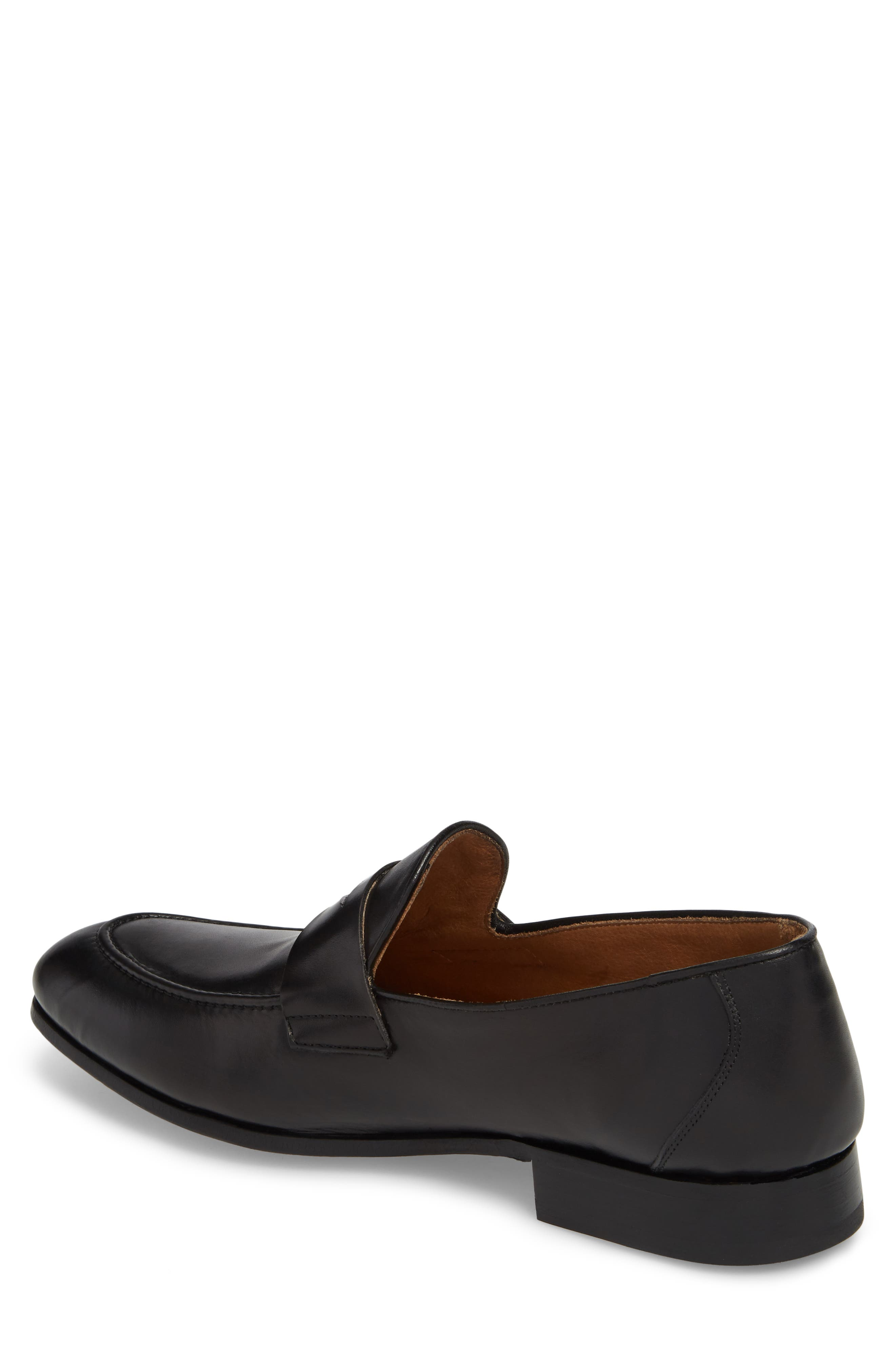 Alejo Apron Toe Penny Loafer,                             Alternate thumbnail 2, color,                             BLACK LEATHER