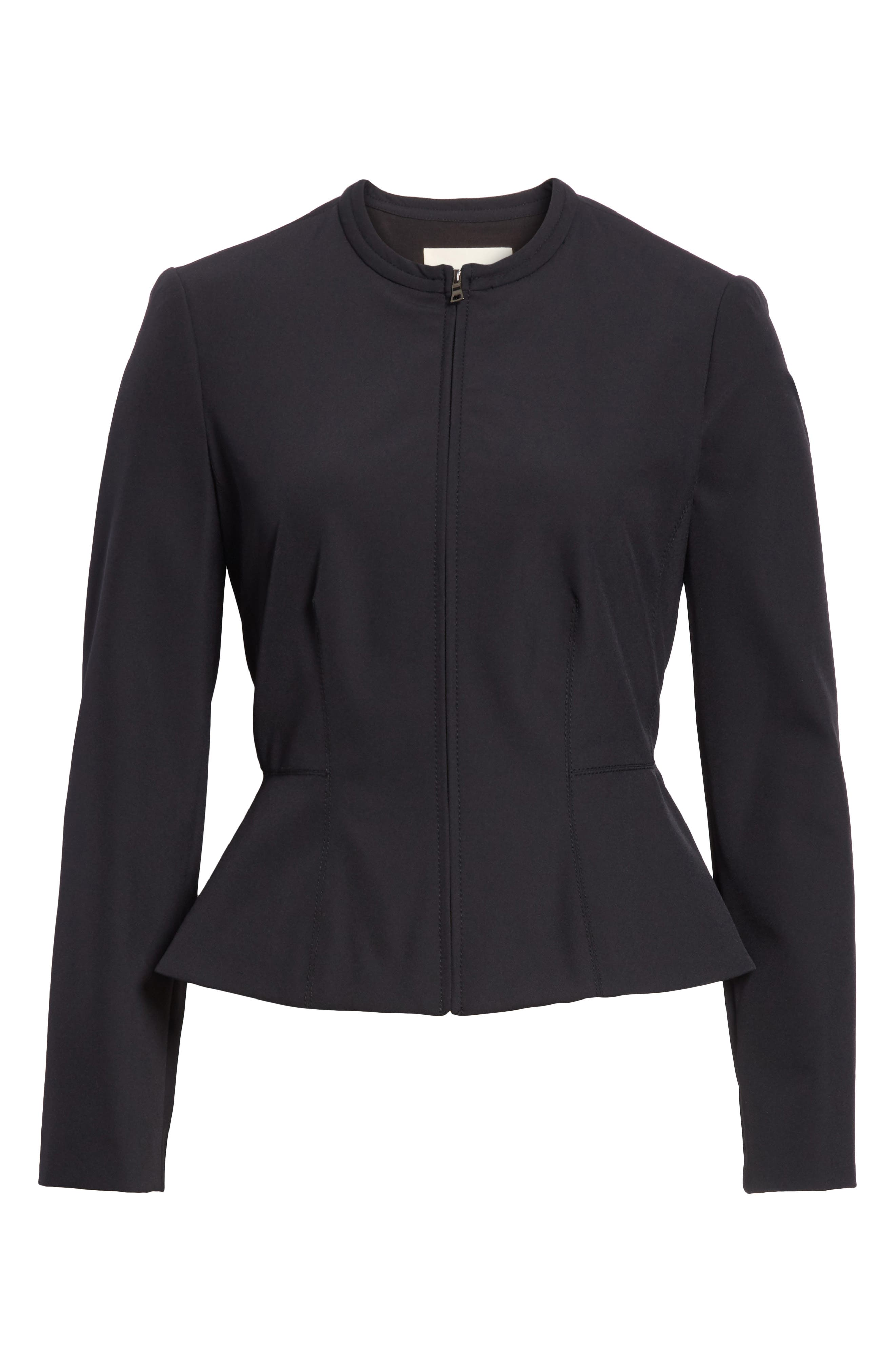 Ava Peplum Jacket,                             Alternate thumbnail 5, color,                             BLACK