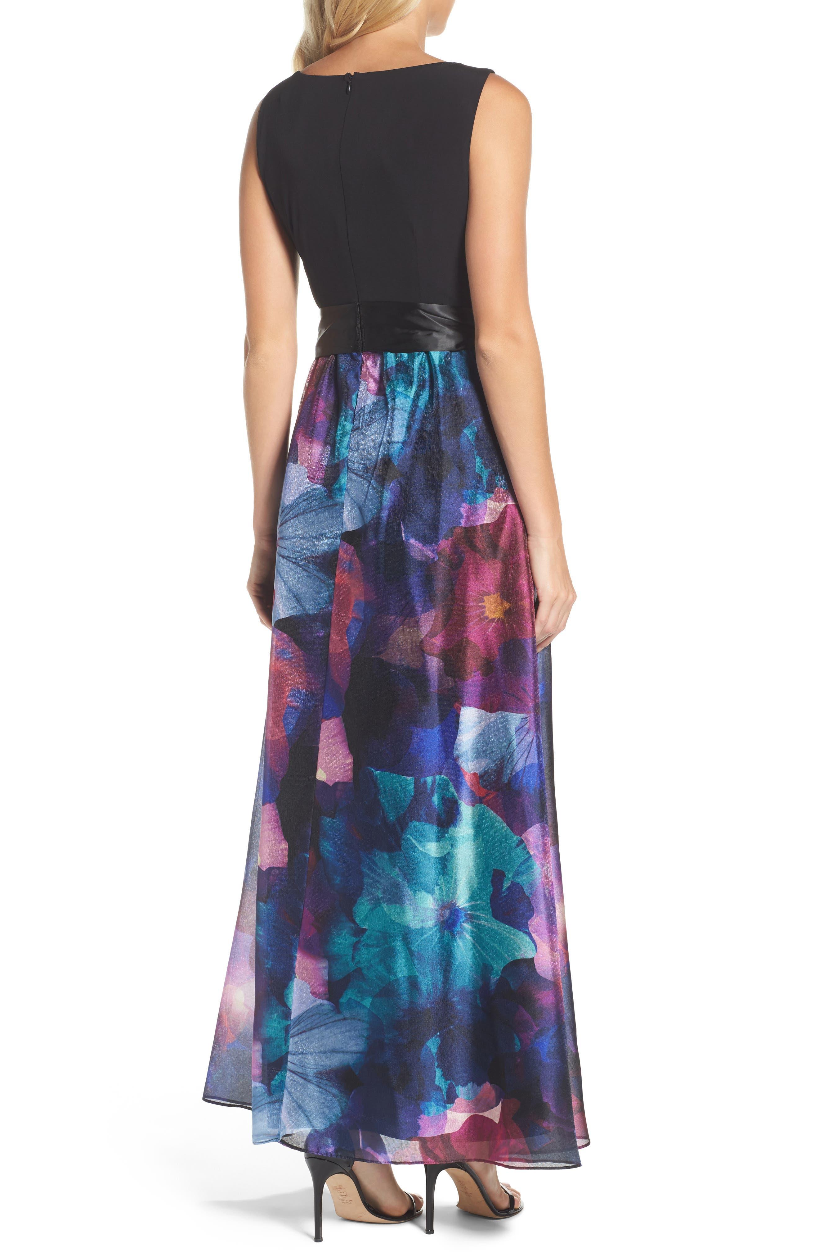 Floral Splash Mixed Media Maxi Dress,                             Alternate thumbnail 2, color,                             002