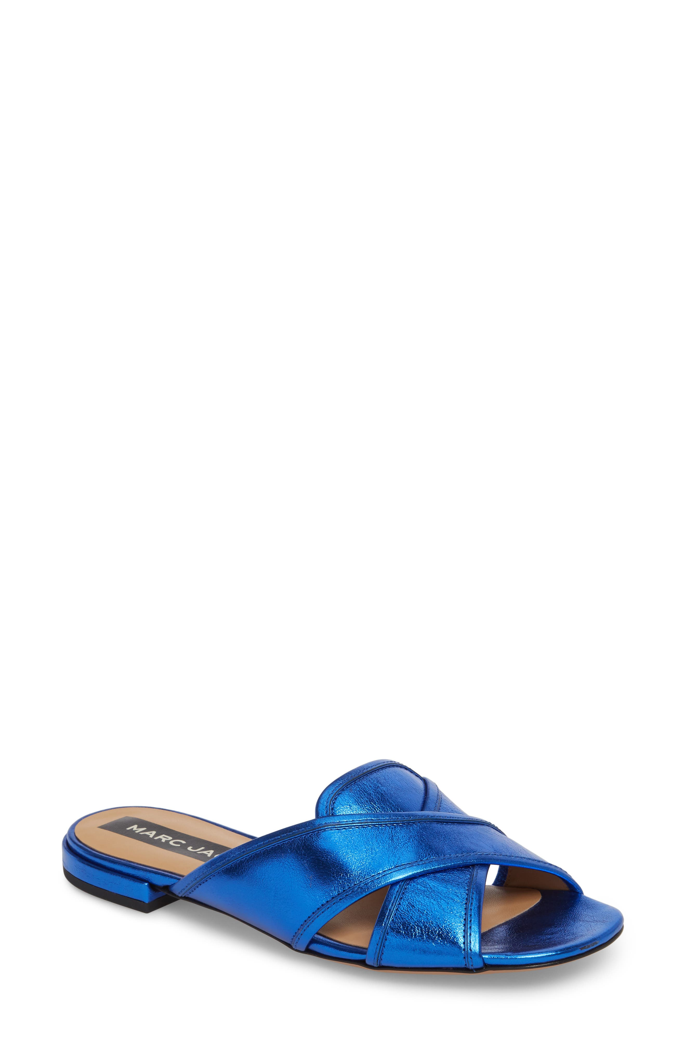 Aurora Metallic Slide Sandal,                         Main,                         color, BLUE