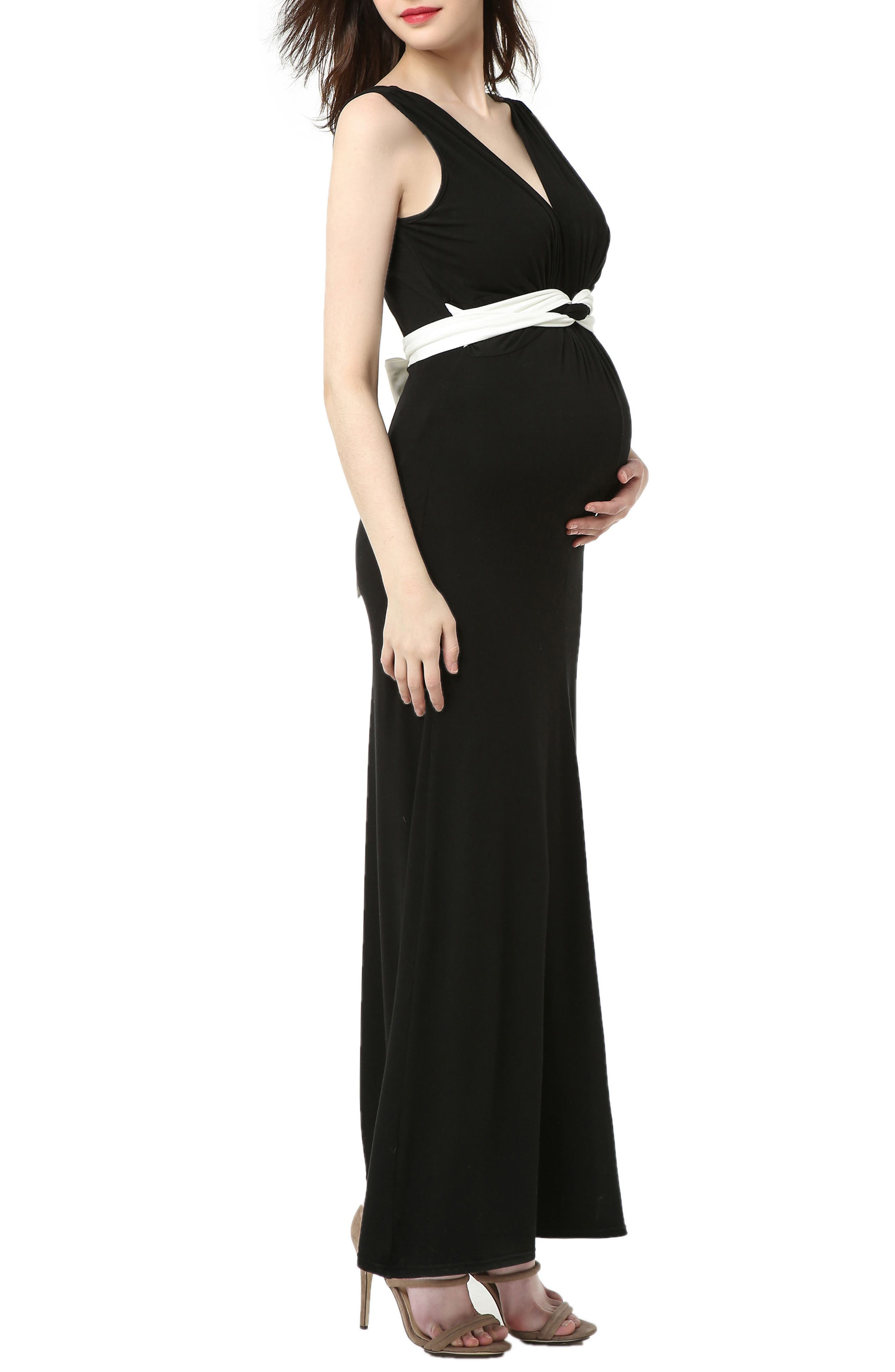 Scarlett Maternity Maxi Dress,                             Alternate thumbnail 3, color,                             BLACK/ WHITE