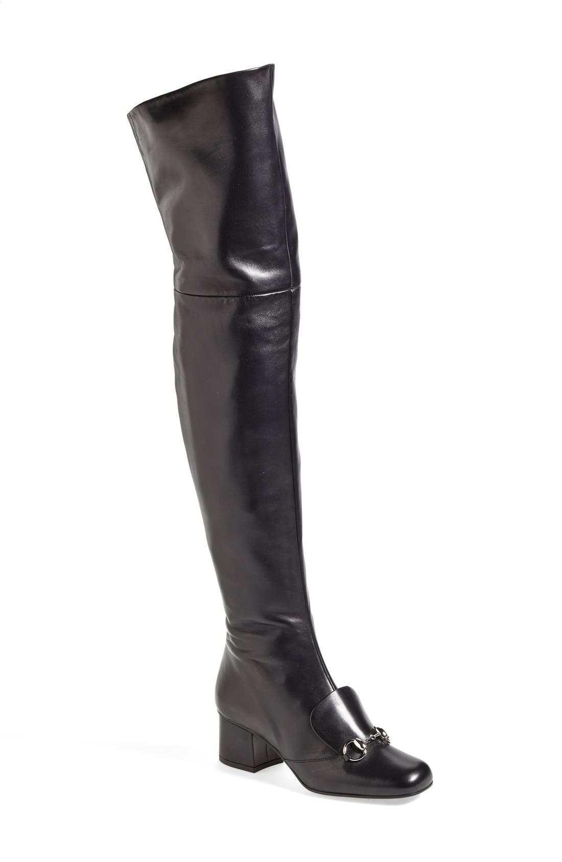GUCCI 'Lillian' Over the Knee Boot, Main, color, 001