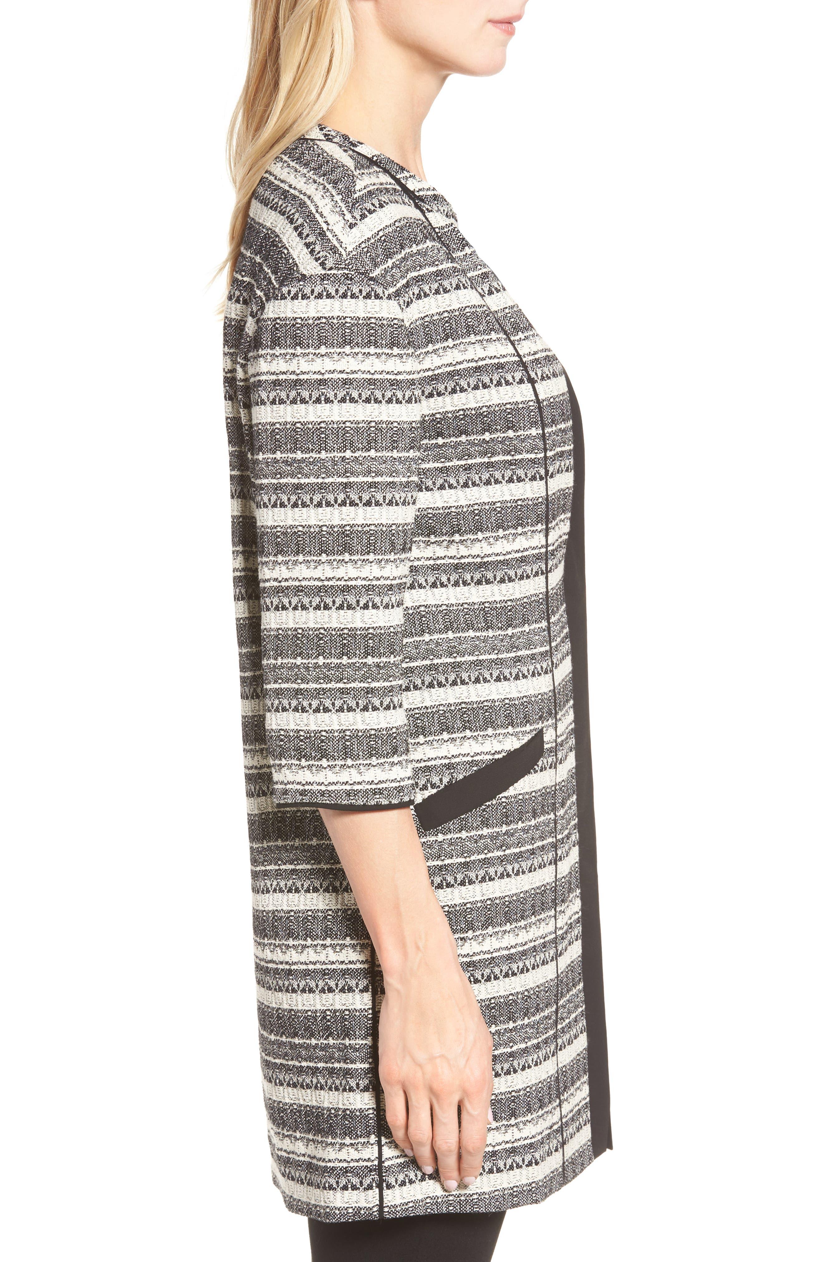 Long Stripe Tweed Jacket,                             Alternate thumbnail 3, color,                             001