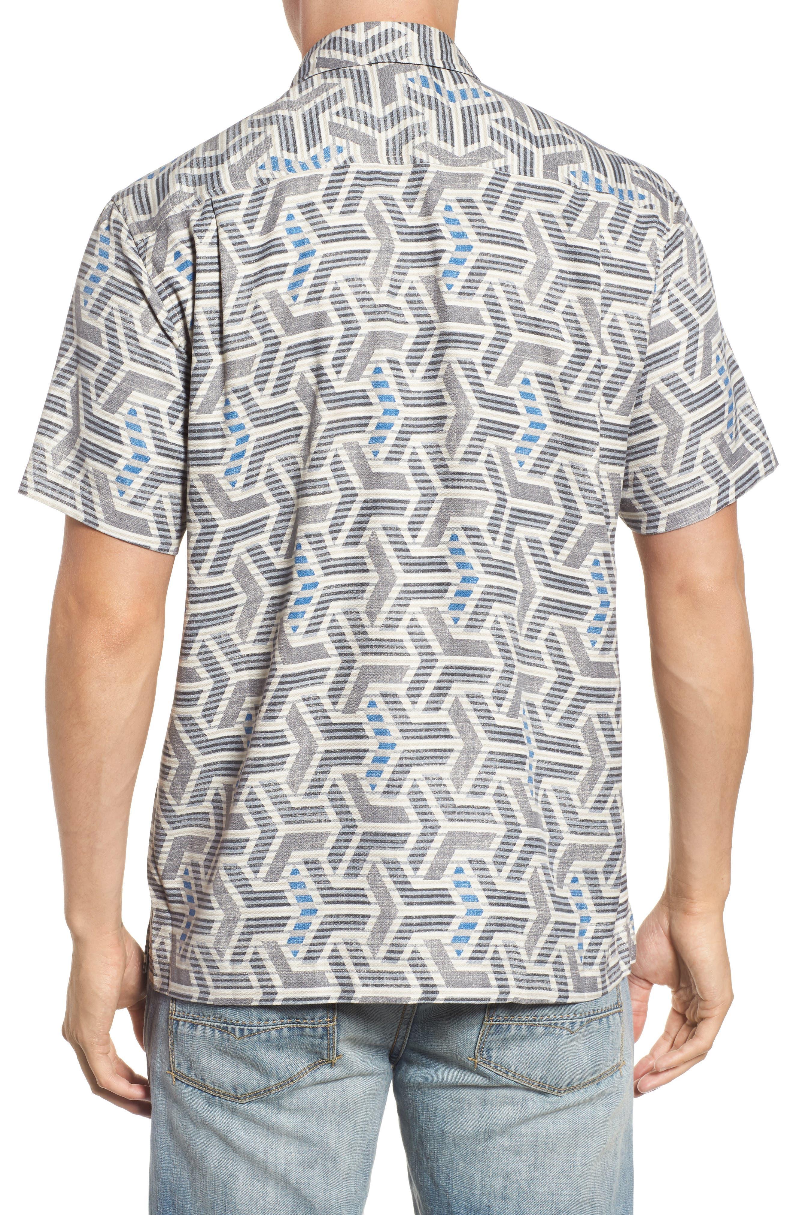 Wellington Geometric Print Sport Shirt,                             Alternate thumbnail 2, color,