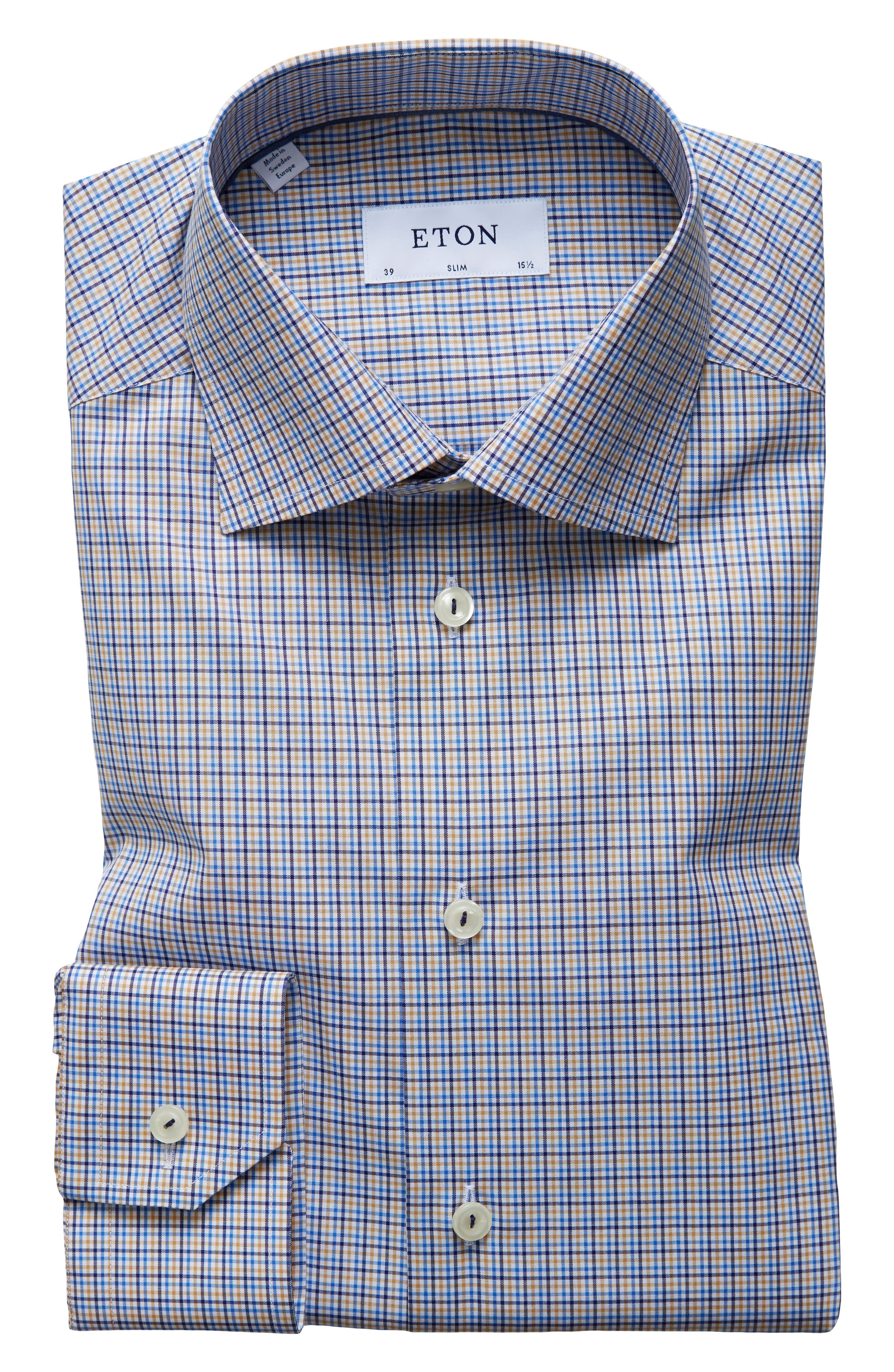 Slim Fit Check Dress Shirt,                         Main,                         color, 400