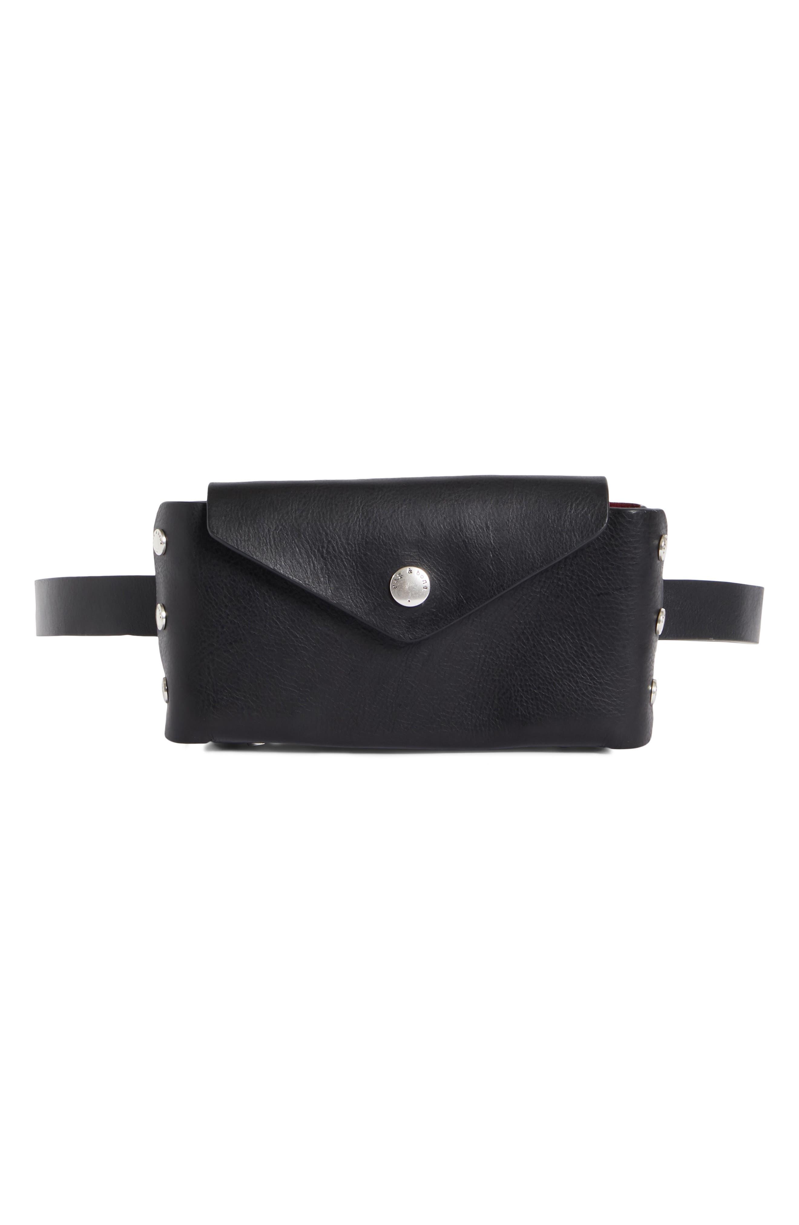 Atlas Leather Belt Bag,                         Main,                         color, BLACK/ BIKING RED