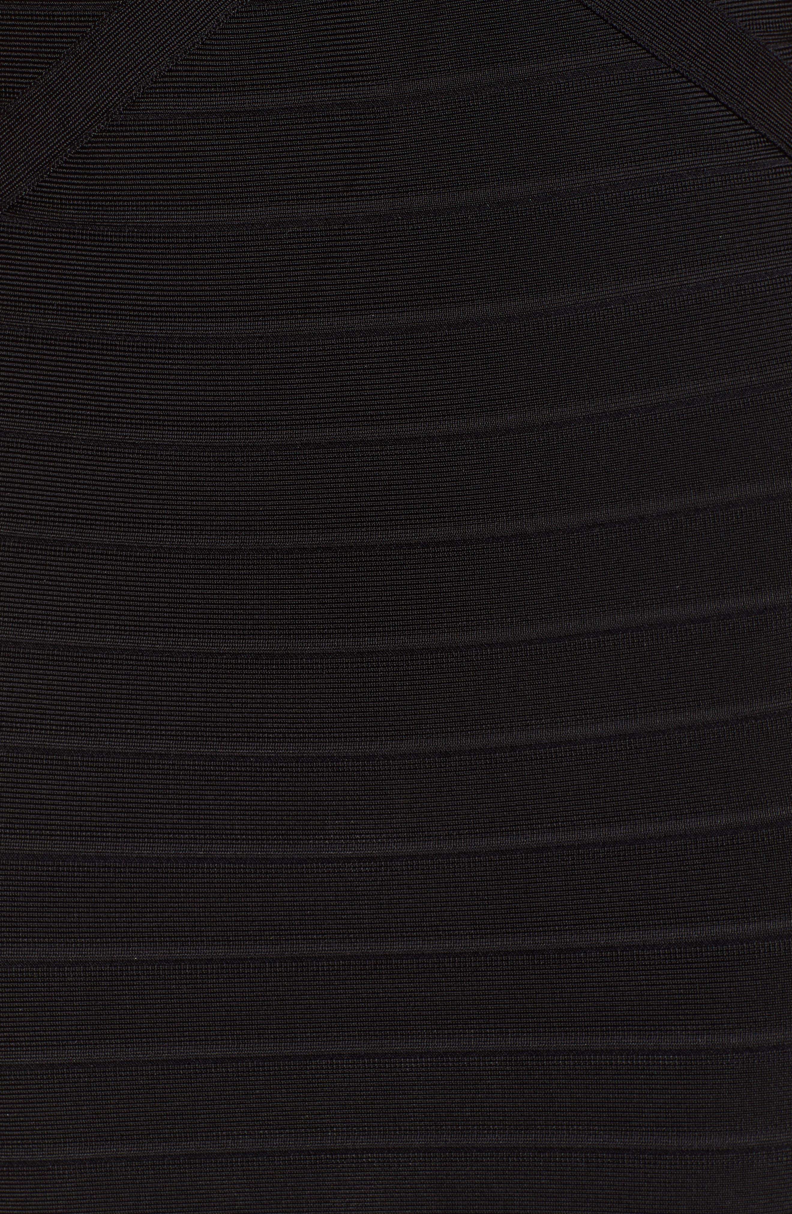 Illusion Mesh Body-Con Dress,                             Alternate thumbnail 6, color,                             BLACK