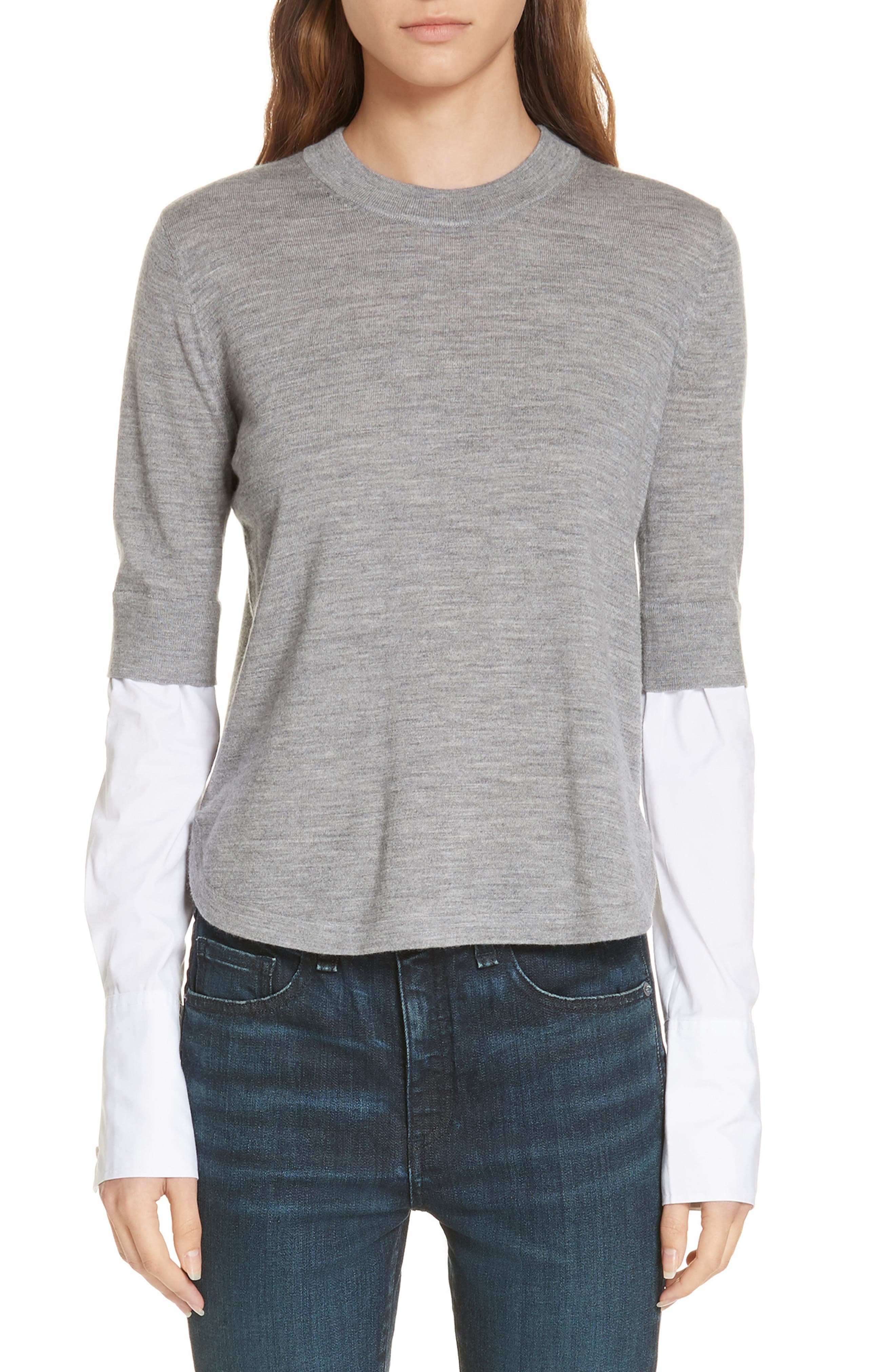 Roscoe Layered Sweater,                         Main,                         color, GREY MELANGE