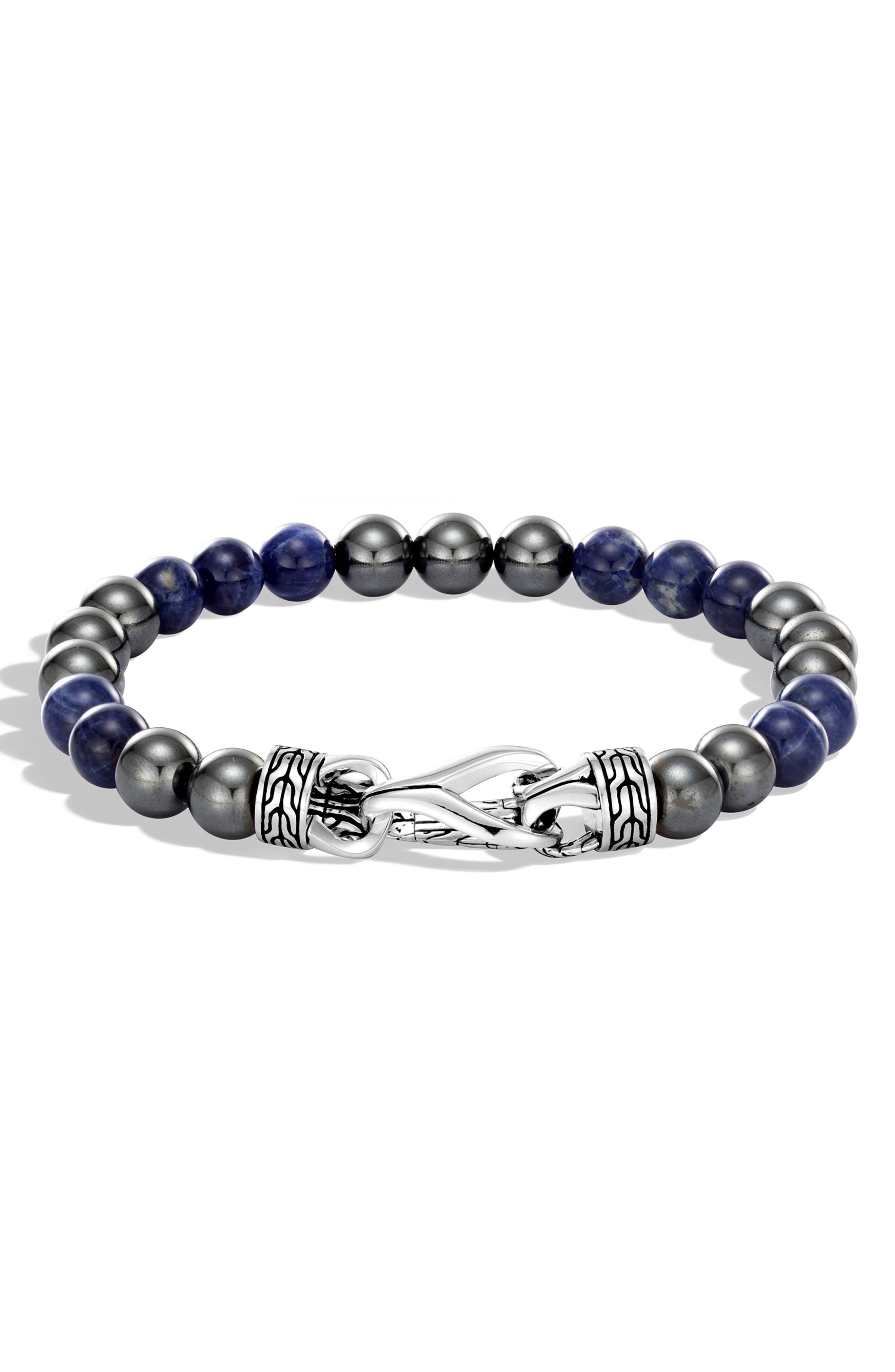 Men's Asli Chain & Stone Bracelet,                             Main thumbnail 1, color,                             SILVER