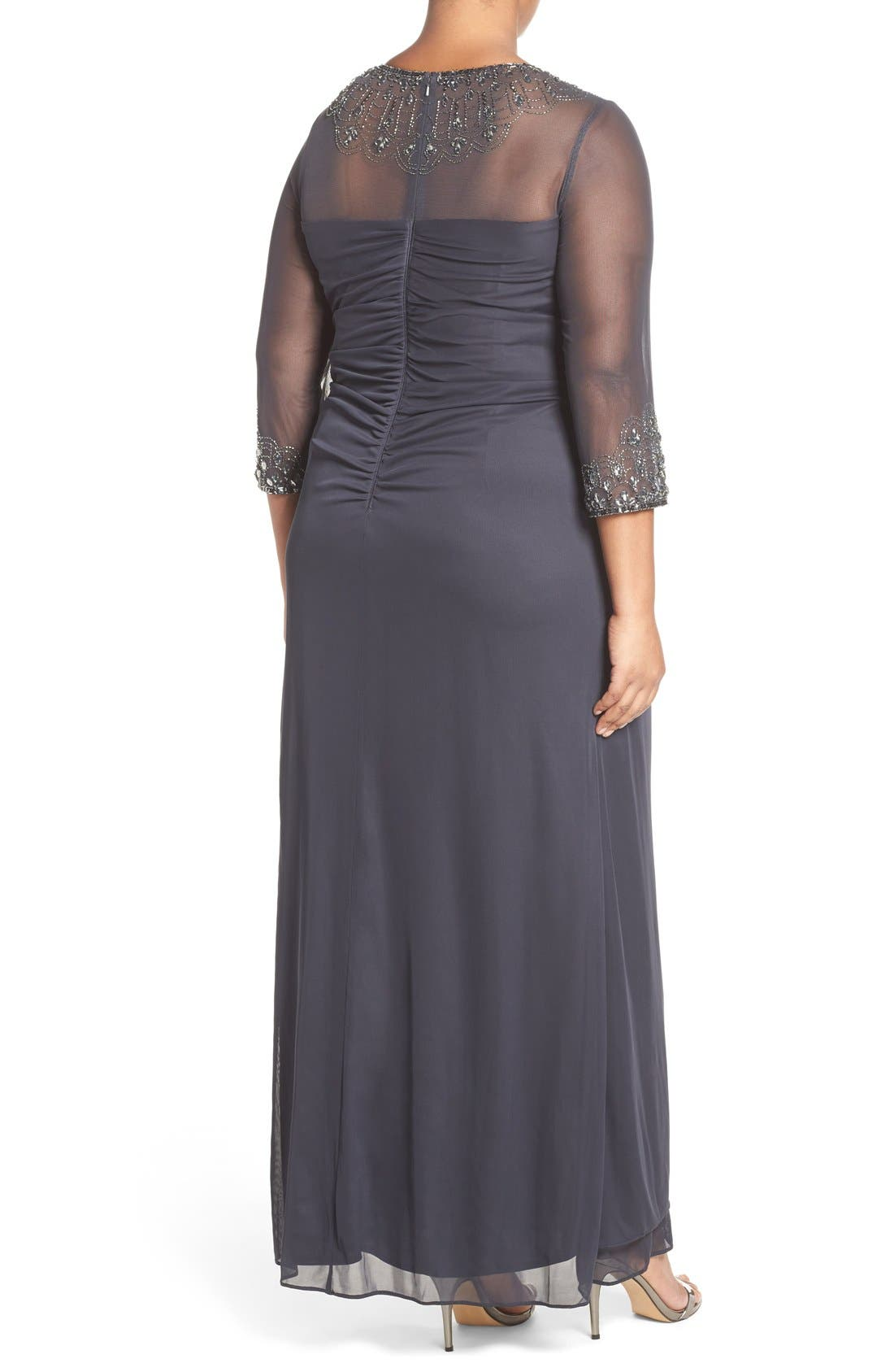 Beaded Illusion Neck A-Line Gown,                             Alternate thumbnail 6, color,