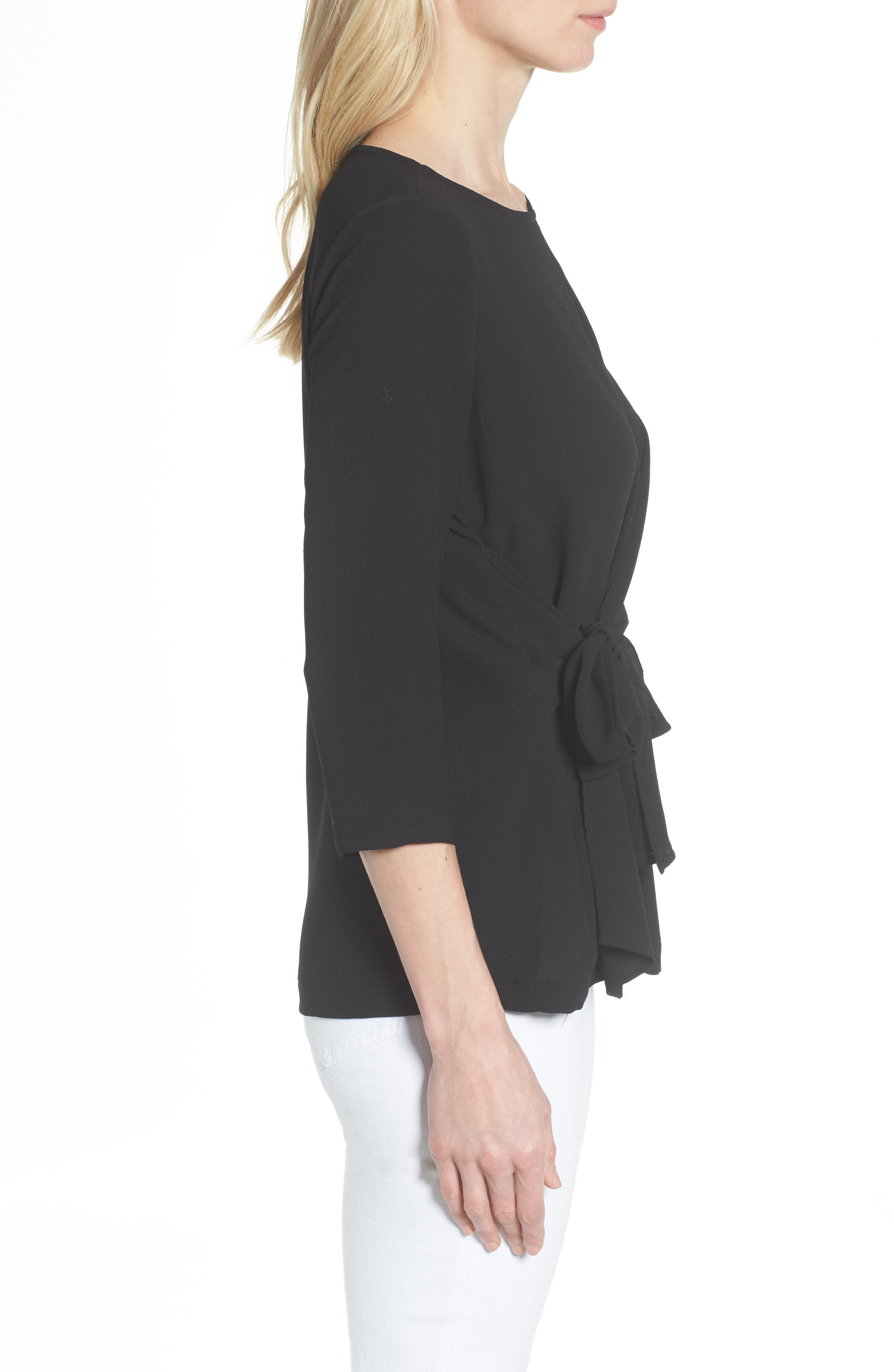 GIBSON,                             Tie Front Crepe Top,                             Alternate thumbnail 3, color,                             001