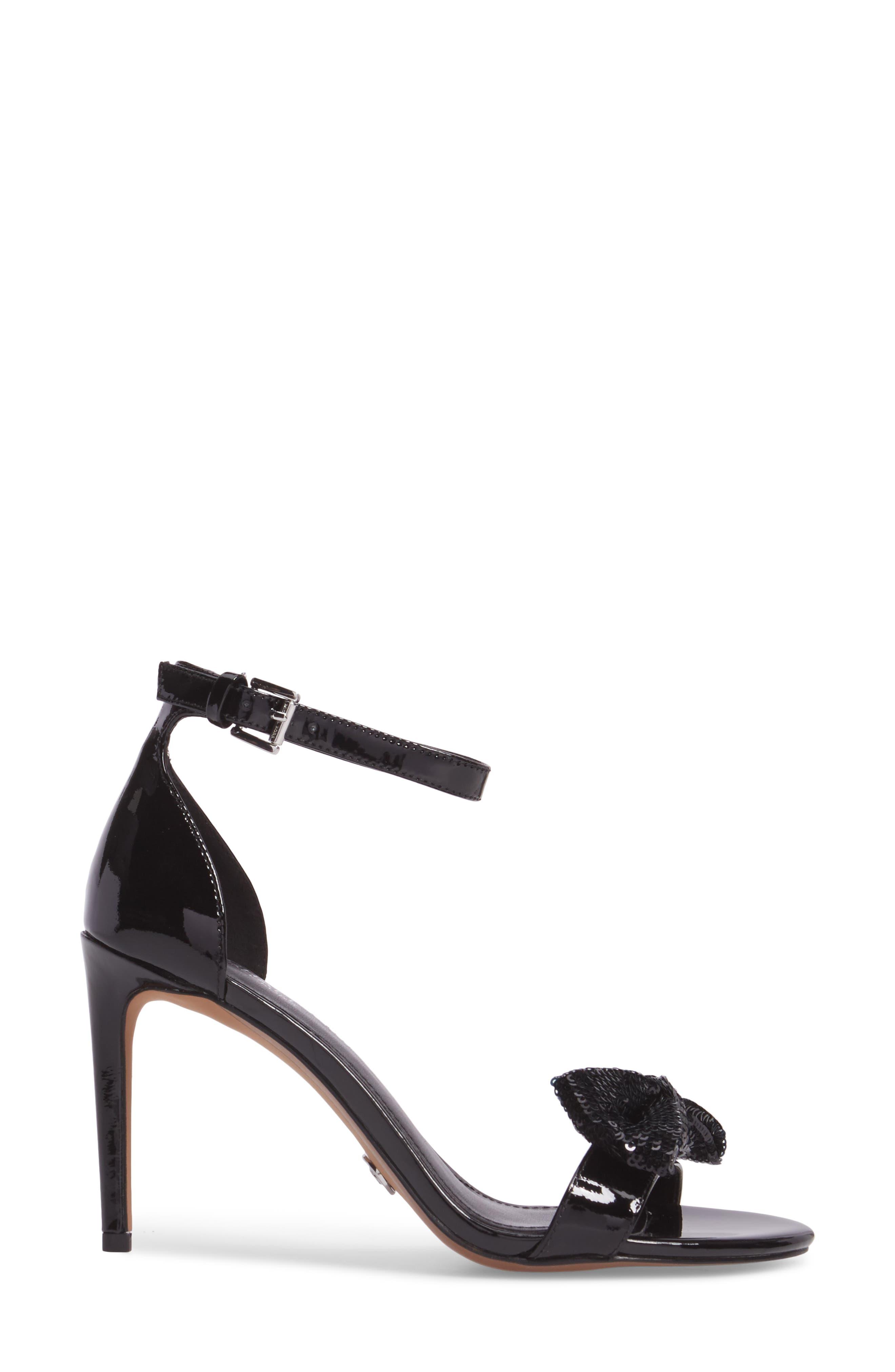 Paris Sequin Bow Sandal,                             Alternate thumbnail 3, color,                             001