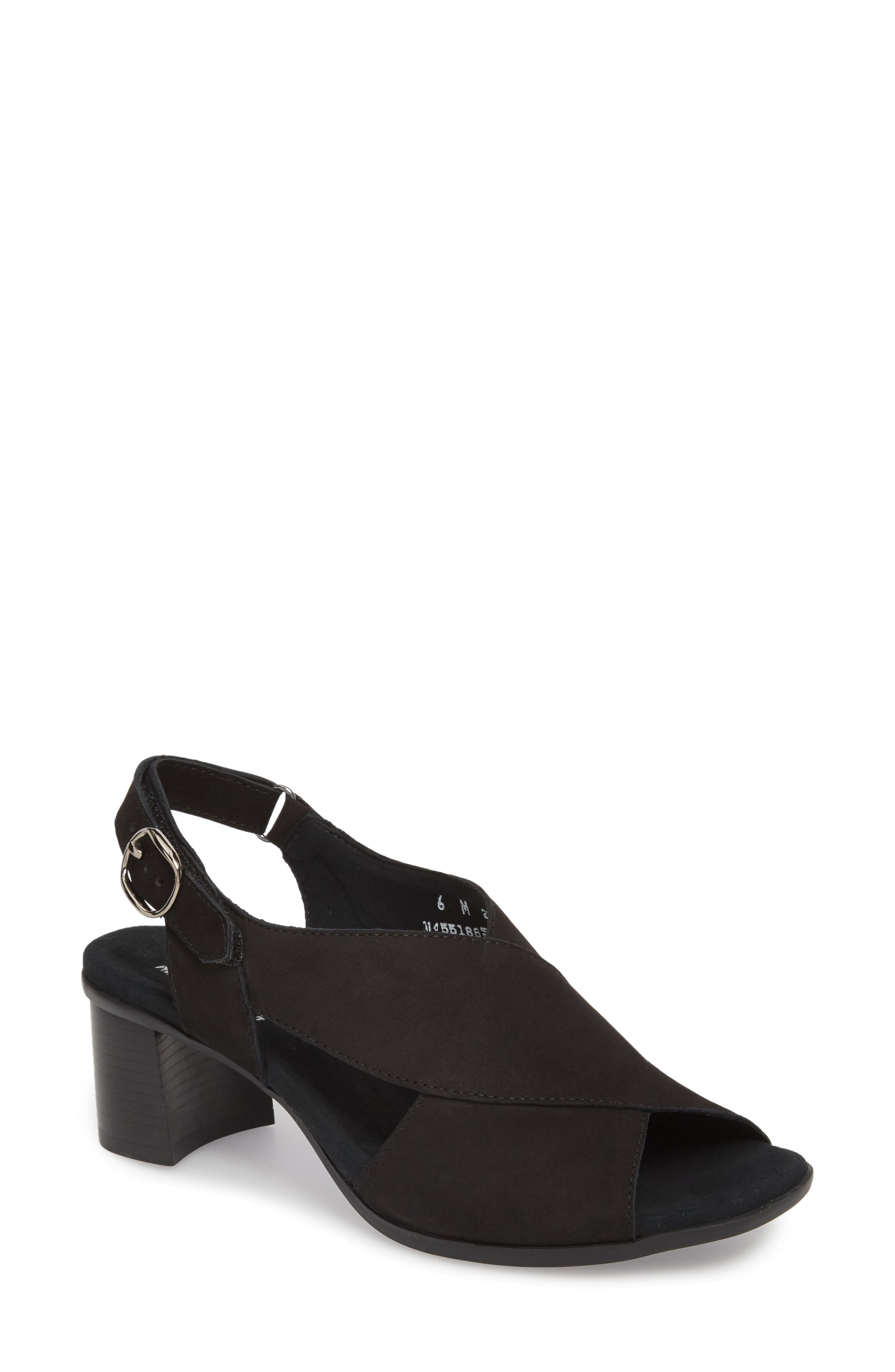 Laine Block Heel Sandal,                         Main,                         color, BLACK NUBUCK LEATHER