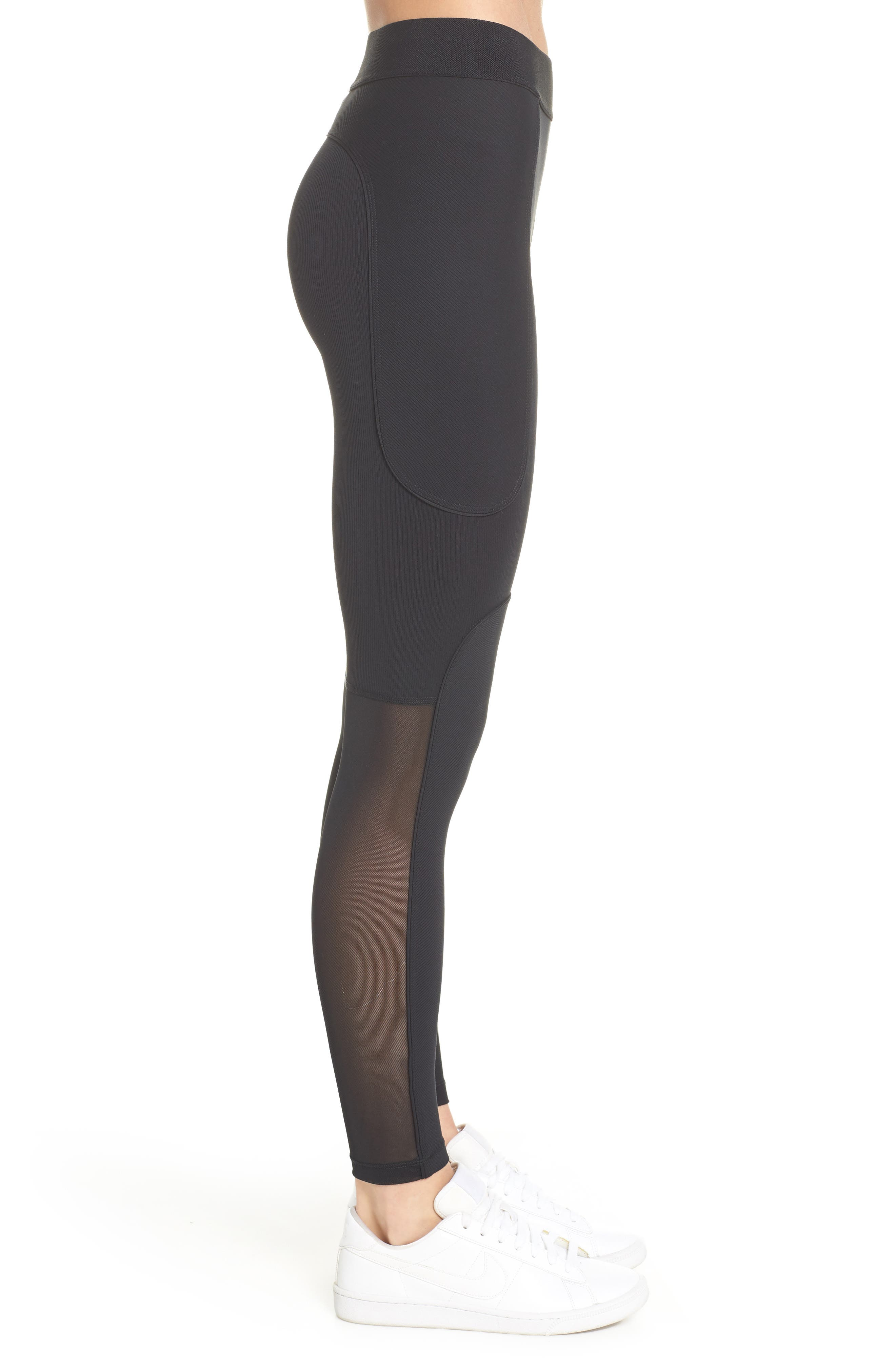 The Nike Pro HyperCool Women's Ribbed Tights,                             Alternate thumbnail 3, color,                             BLACK/ CLEAR