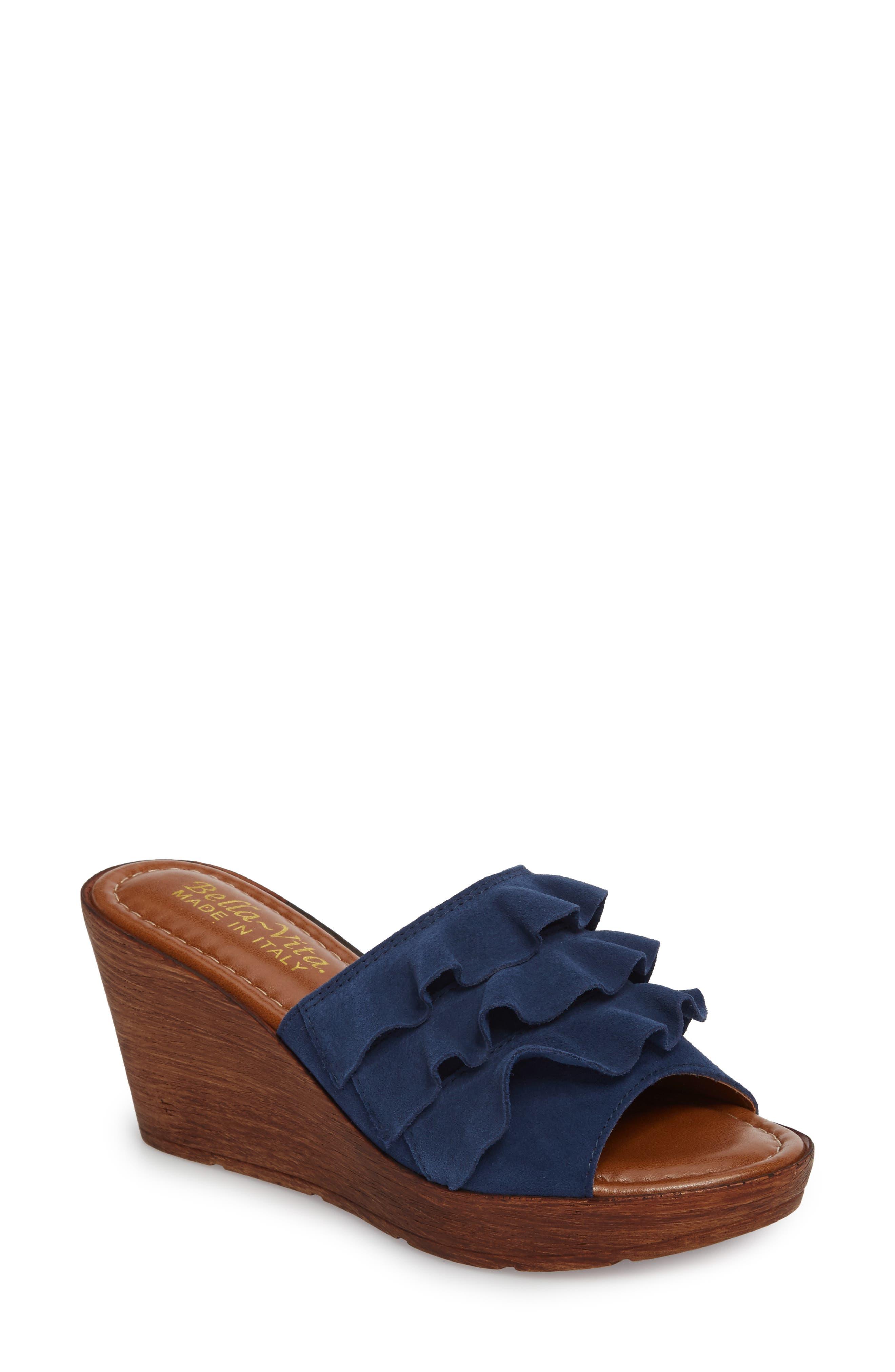 Bey Platform Wedge Sandal,                         Main,                         color, NAVY SUEDE