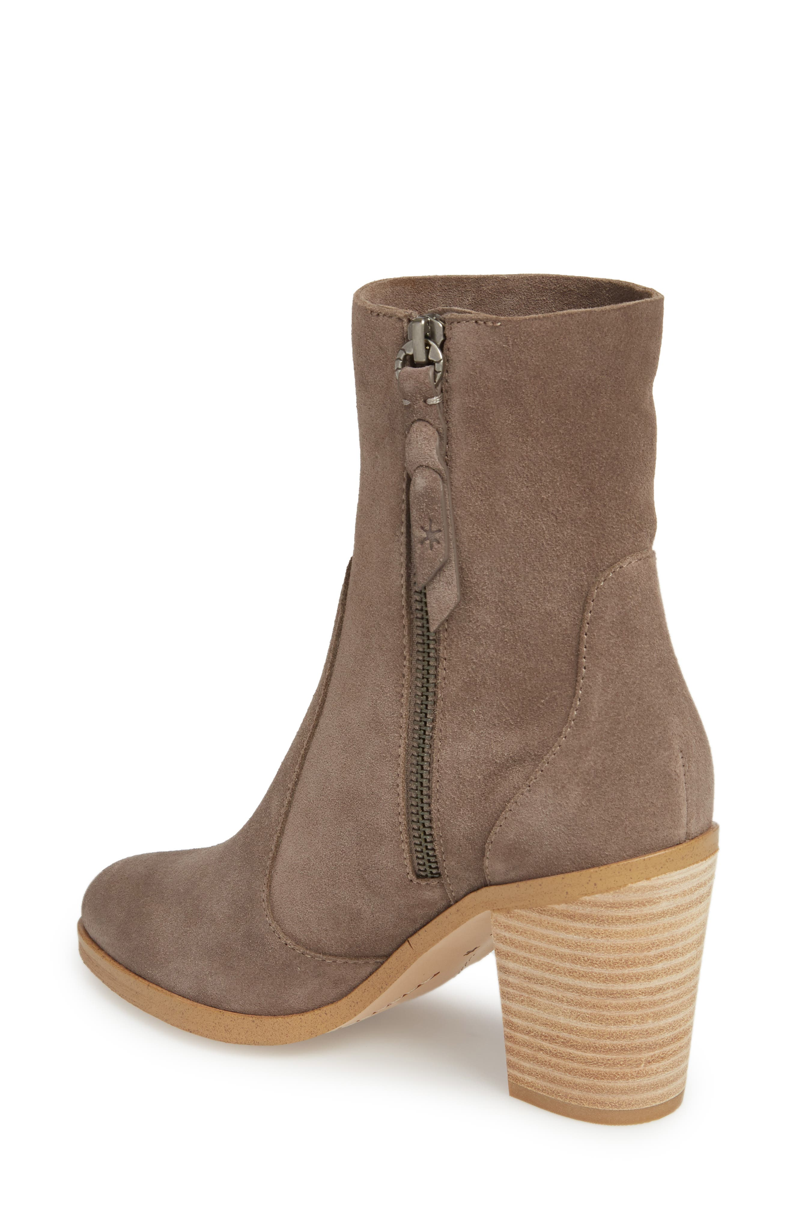 Roselyn II Almond Toe Bootie,                             Alternate thumbnail 2, color,                             LIGHT CHARCOAL SUEDE