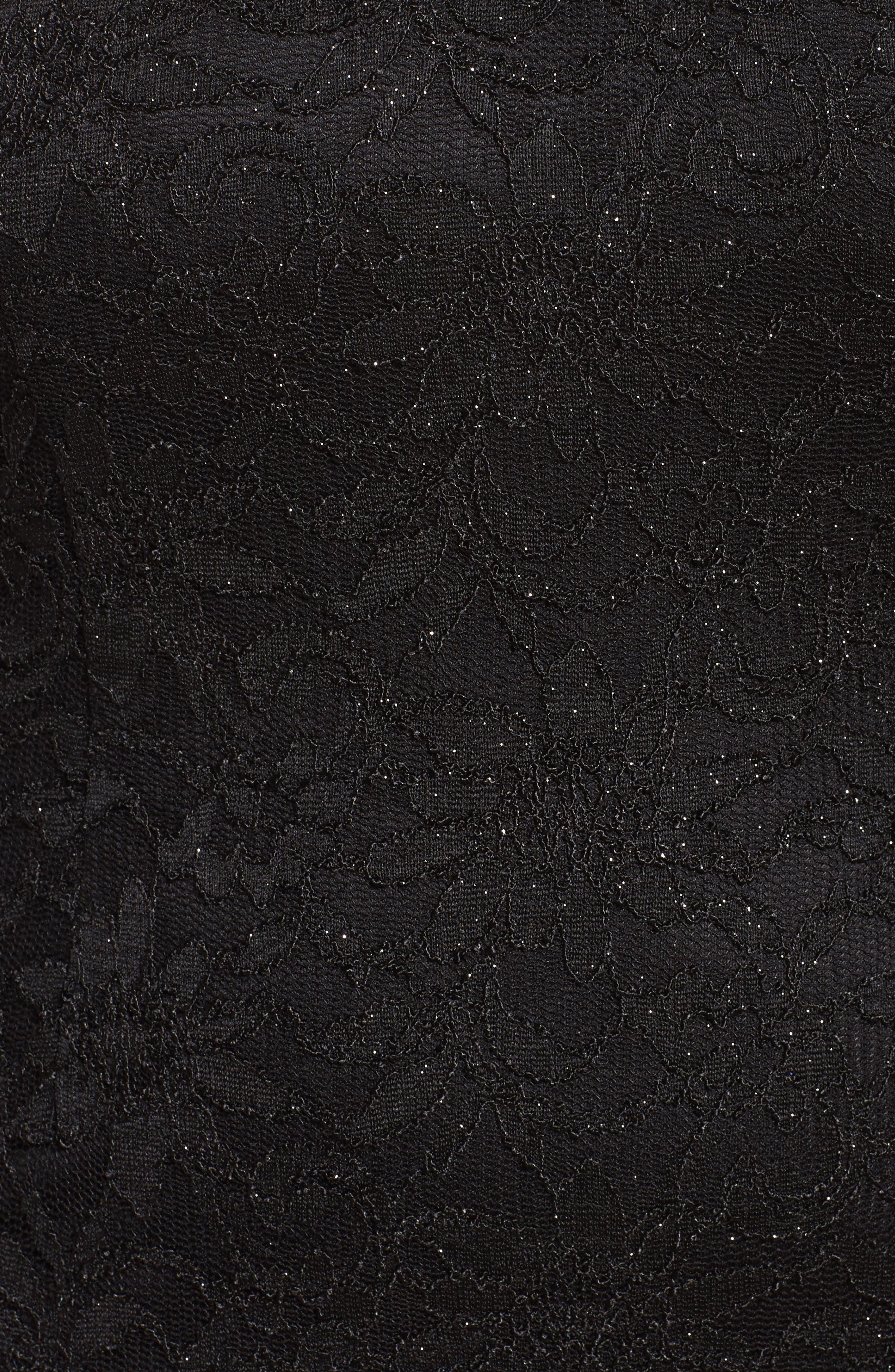 Glitter Lace Cocktail Dress,                             Alternate thumbnail 5, color,                             BLACK