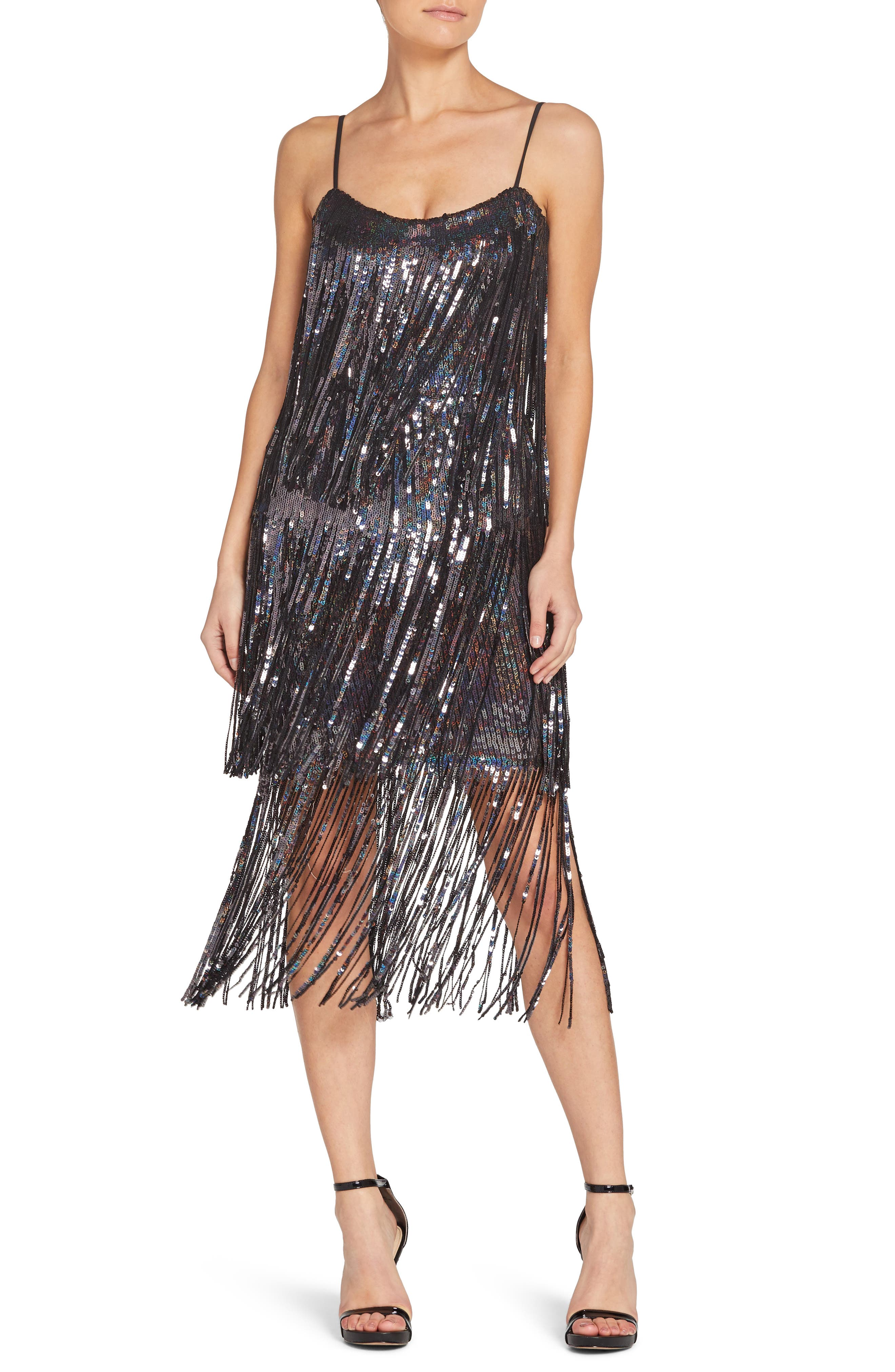 70s Prom, Formal, Evening, Party Dresses Womens Dress The Population Roxy Fringe Shift Dress Size XX-Large - Black $191.98 AT vintagedancer.com