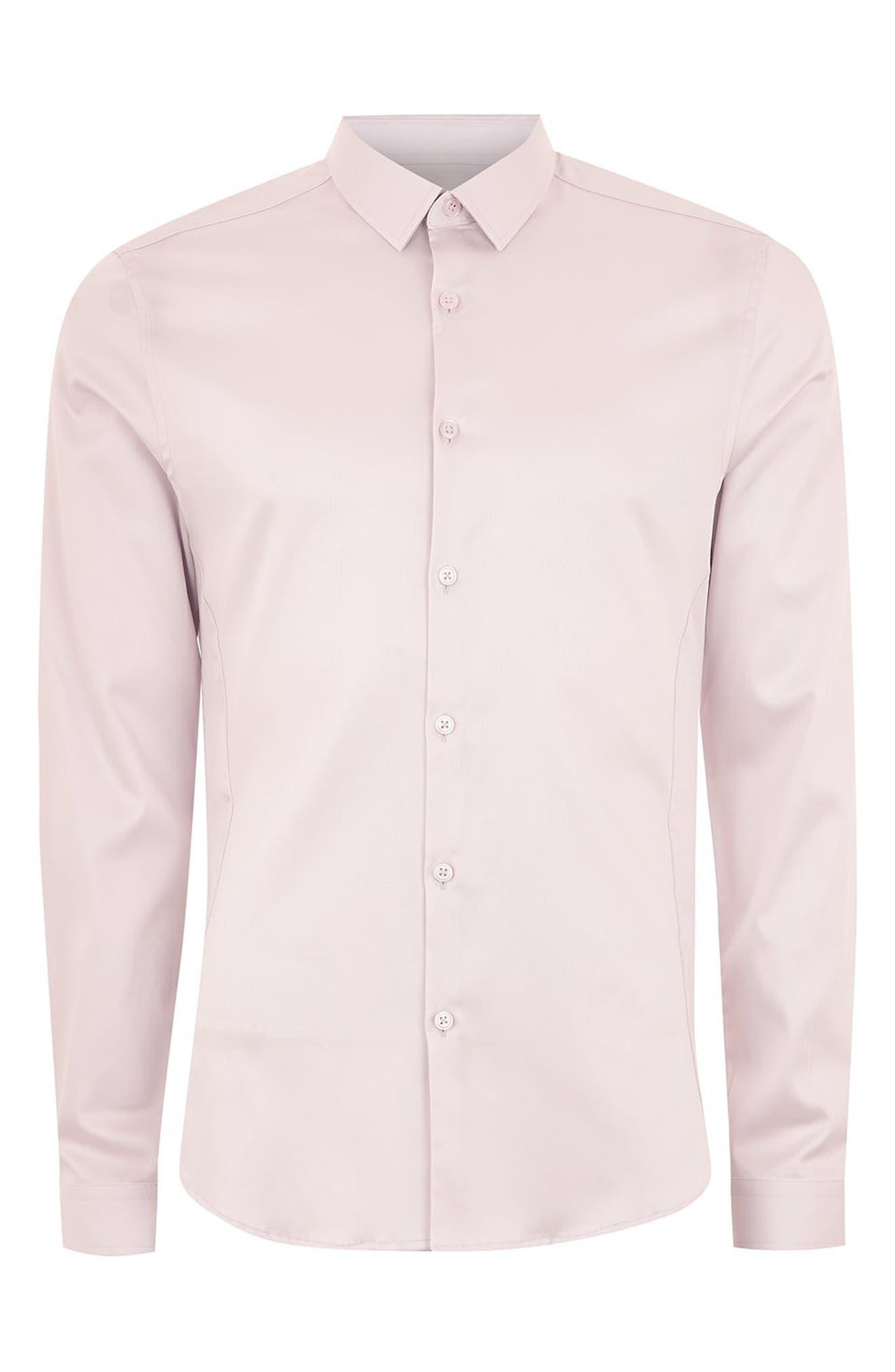 Satin Stretch Classic Fit Shirt,                             Alternate thumbnail 3, color,                             PURPLE