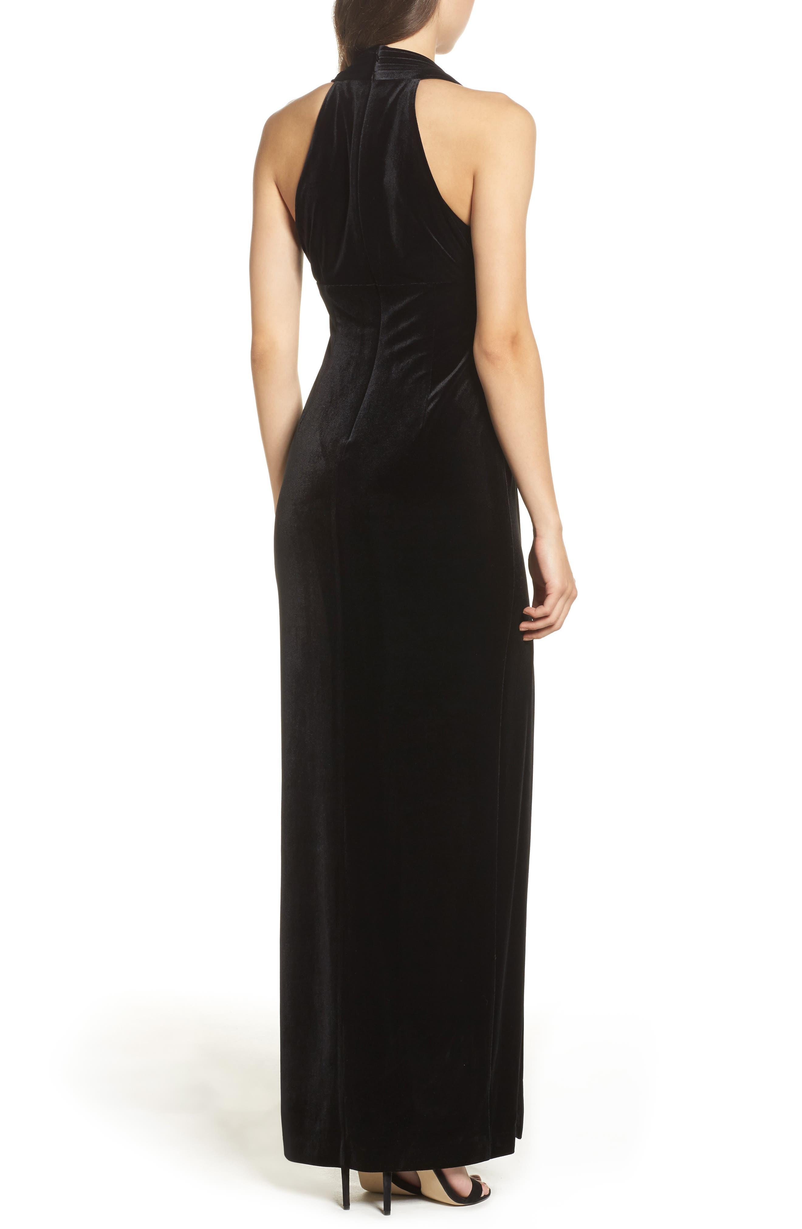 Plunging Side Drape Velvet Gown,                             Alternate thumbnail 2, color,                             001
