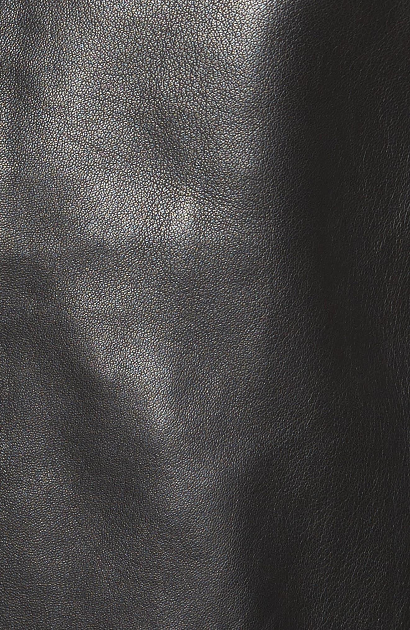 Bonded Leather Moto Jacket,                             Alternate thumbnail 6, color,                             BLACK