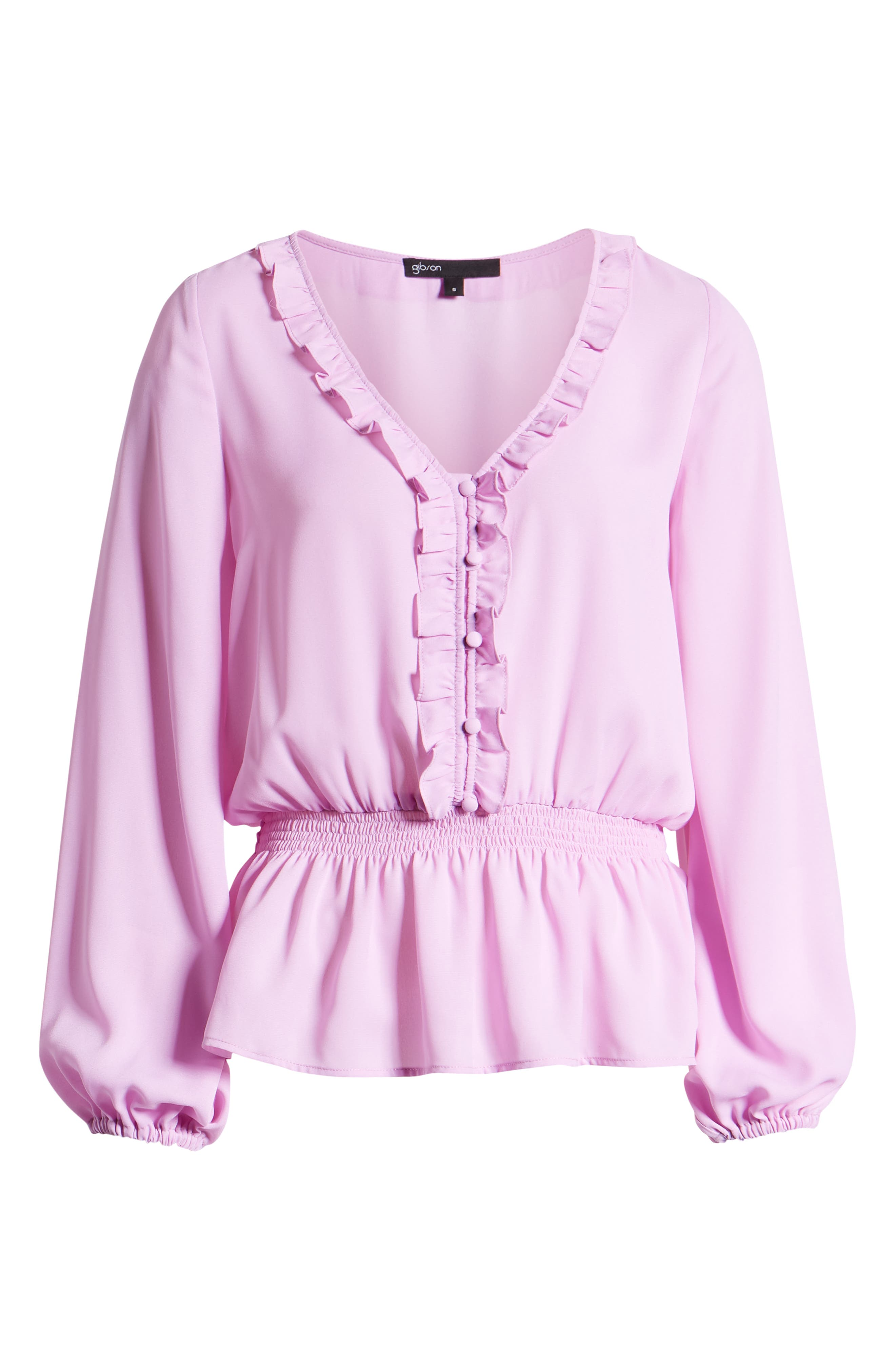 GIBSON,                             x International Women's Day Roselyn Ruffle Detail Smock Waist Blouse,                             Alternate thumbnail 6, color,                             LAVENDER LILY