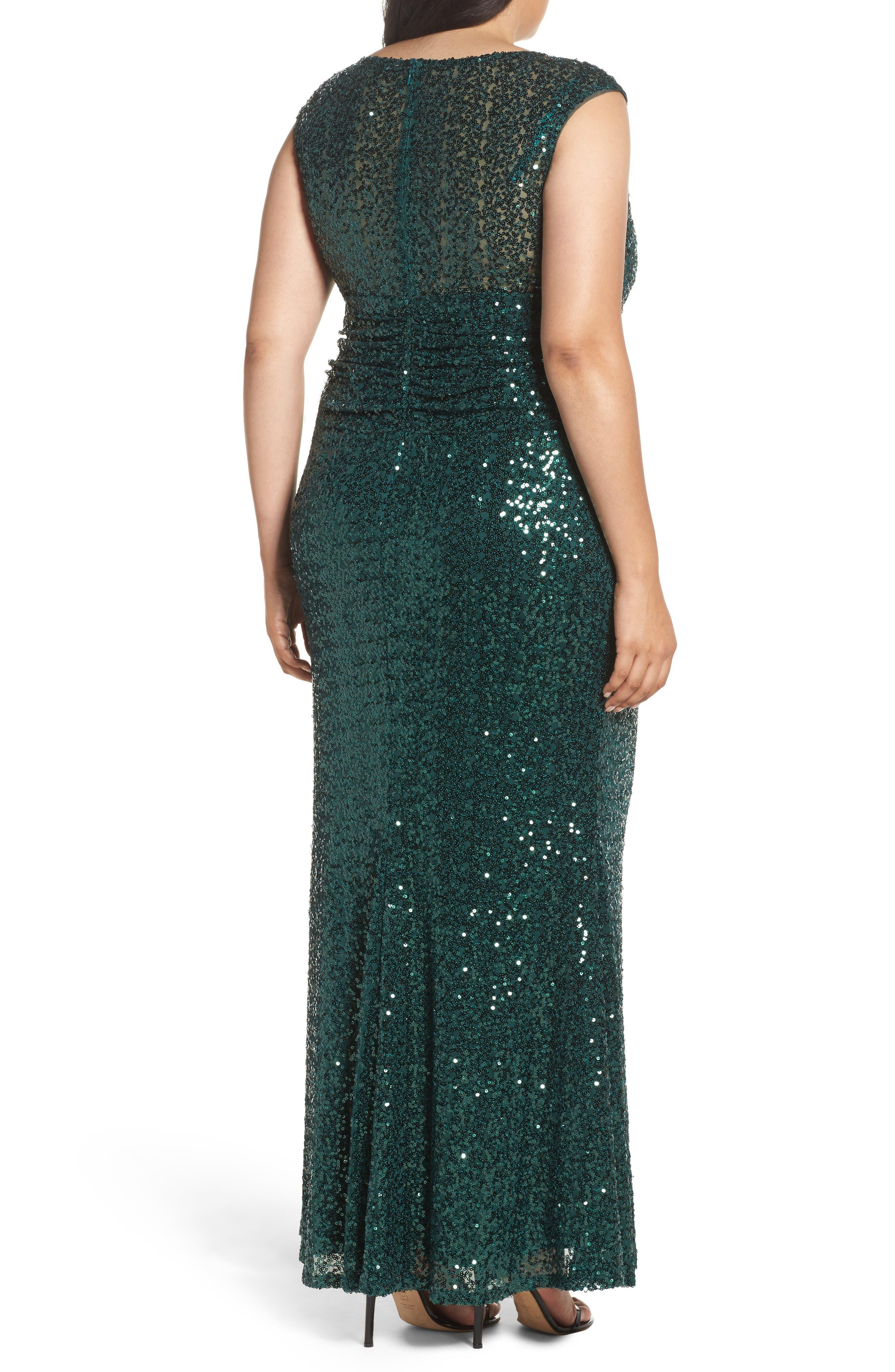 Cutout Sequin Lace Gown,                             Alternate thumbnail 4, color,
